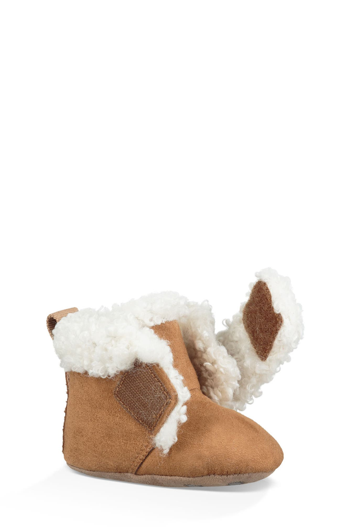 UGG<SUP>®</SUP>, Mini Faux Shearling Bootie, Main thumbnail 1, color, CHESTNUT