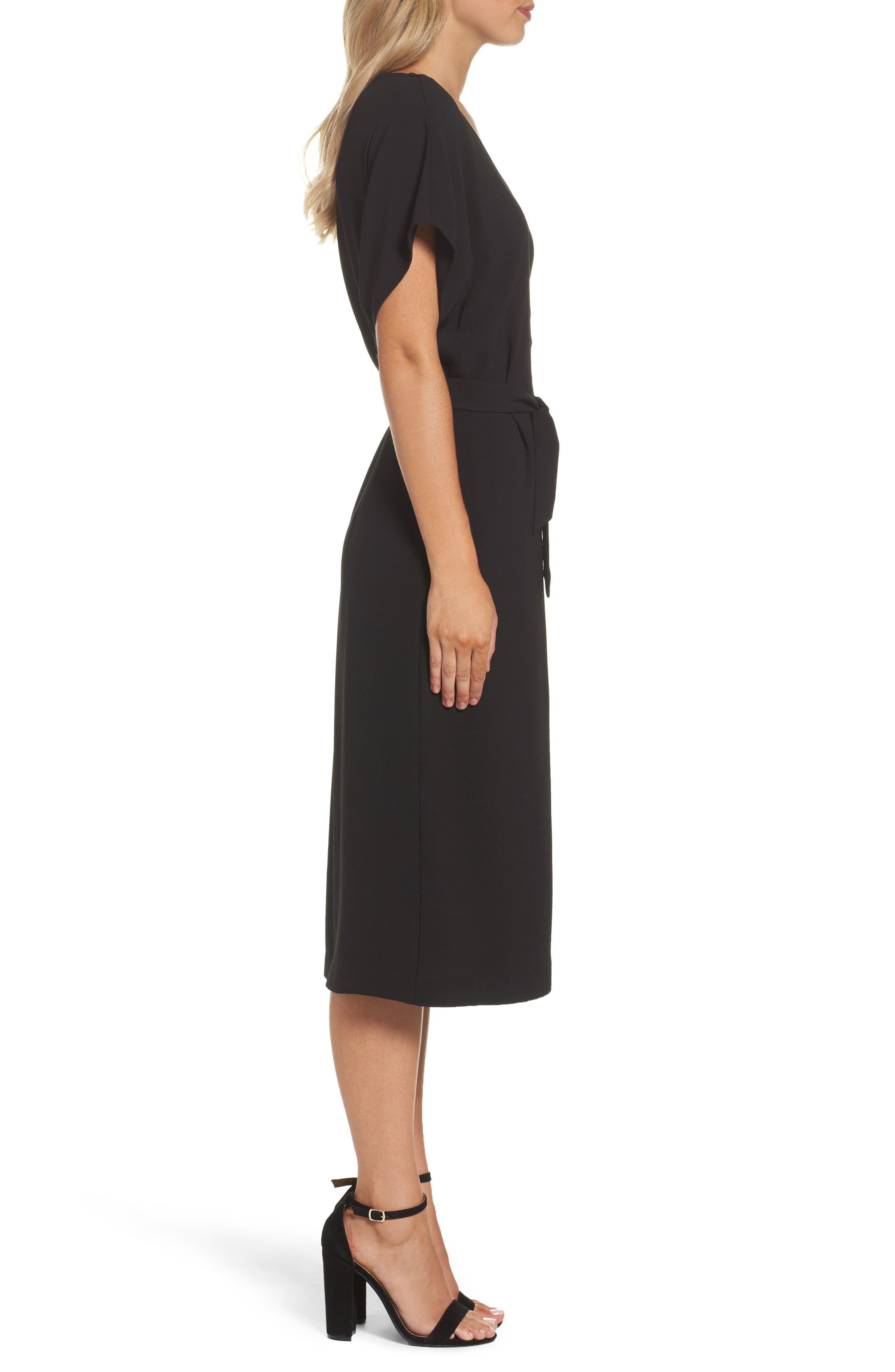 FELICITY & COCO, Rita Wrap Dress, Alternate thumbnail 4, color, BLACK