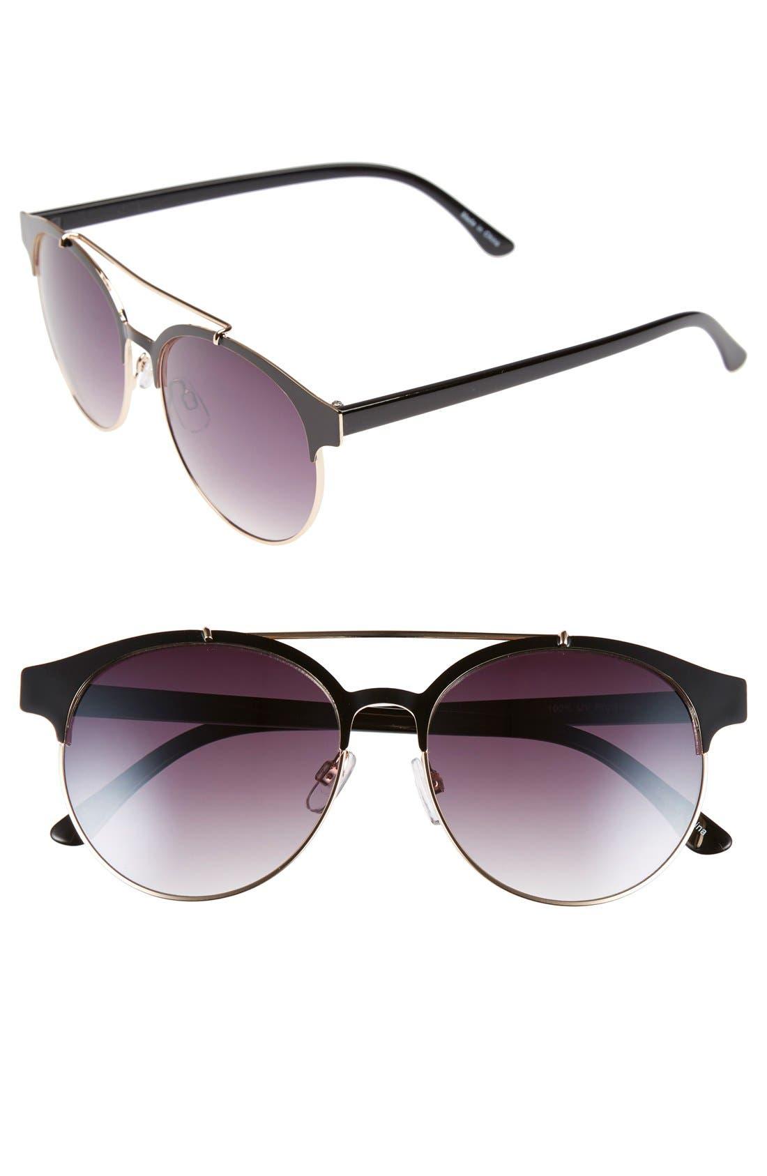 BP., 55mm Round Sunglasses, Main thumbnail 1, color, 001