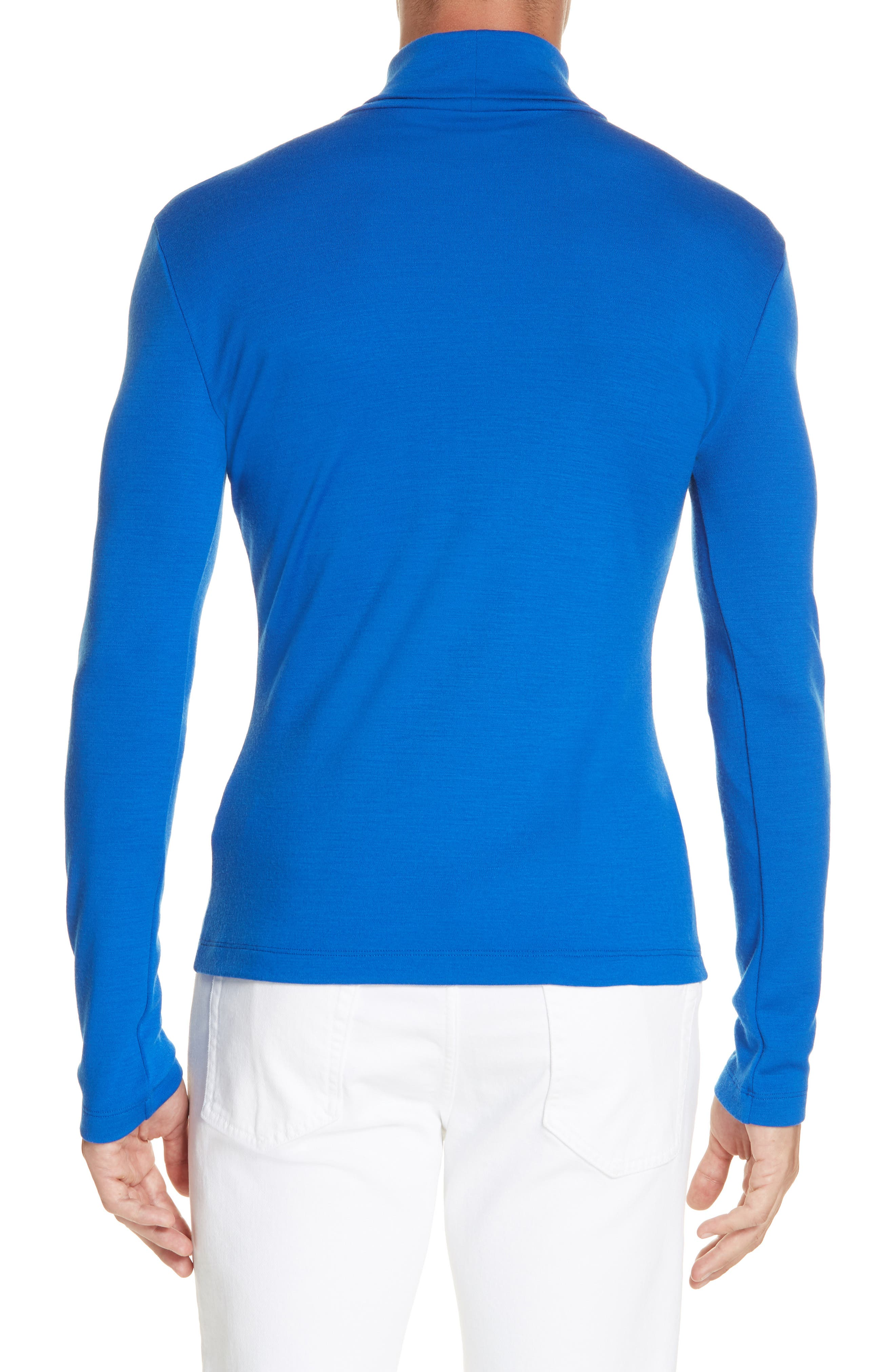 CALVIN KLEIN 205W39NYC, Wool Jersey Turtleneck, Alternate thumbnail 2, color, BRIGHT BLUE