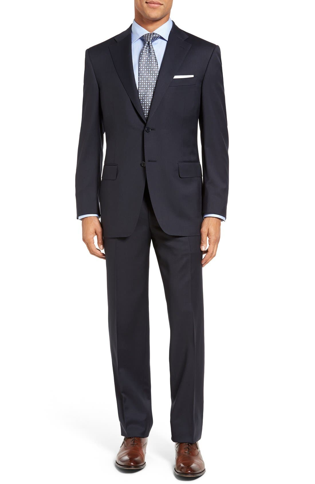 CANALI, Classic Fit Solid Wool Suit, Main thumbnail 1, color, NAVY