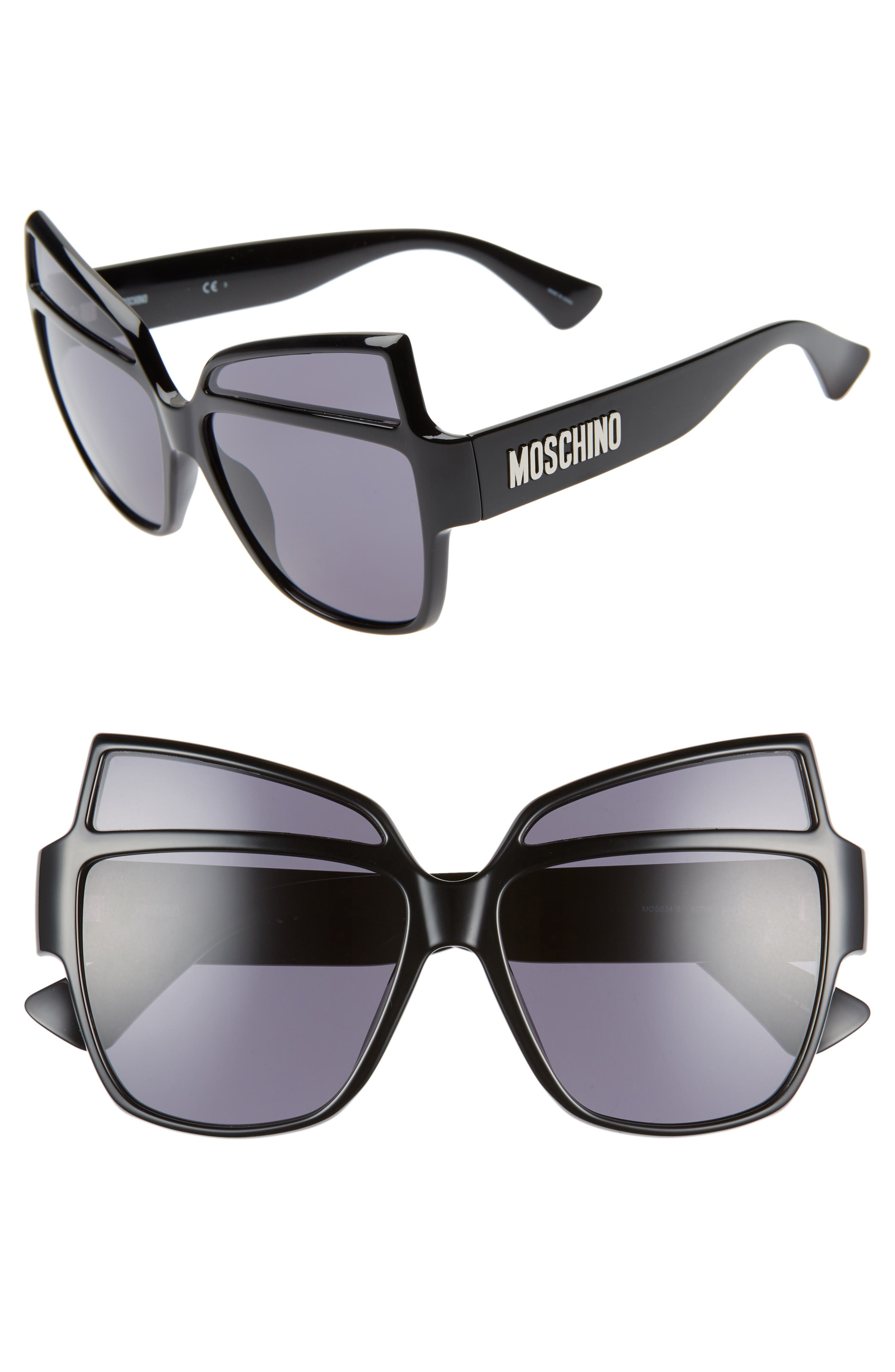 MOSCHINO, 58mm Butterfly Sunglasses, Main thumbnail 1, color, BLACK