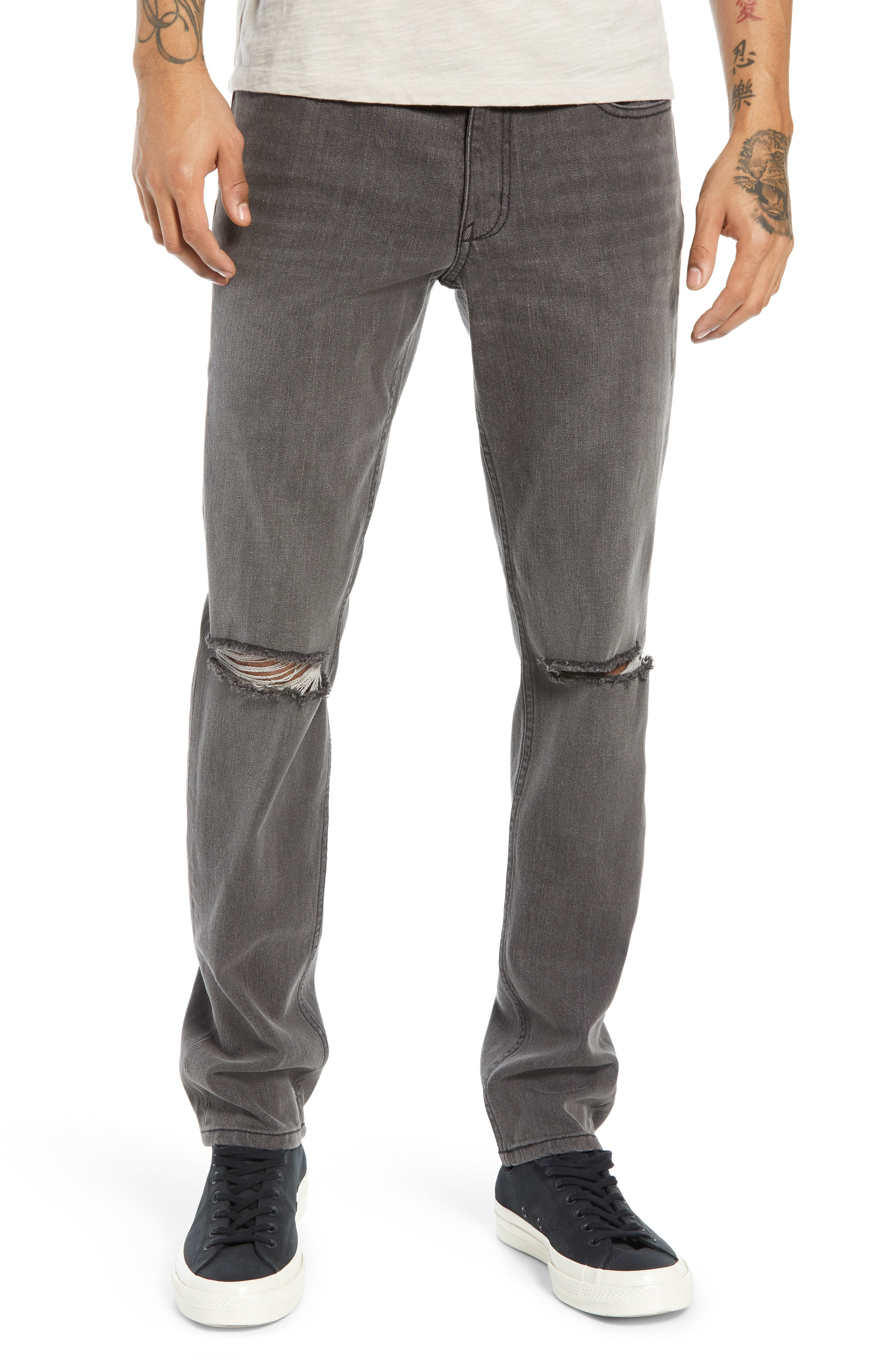 THE RAIL Ripped Skinny Jeans, Main, color, GREY CHRIS WASH