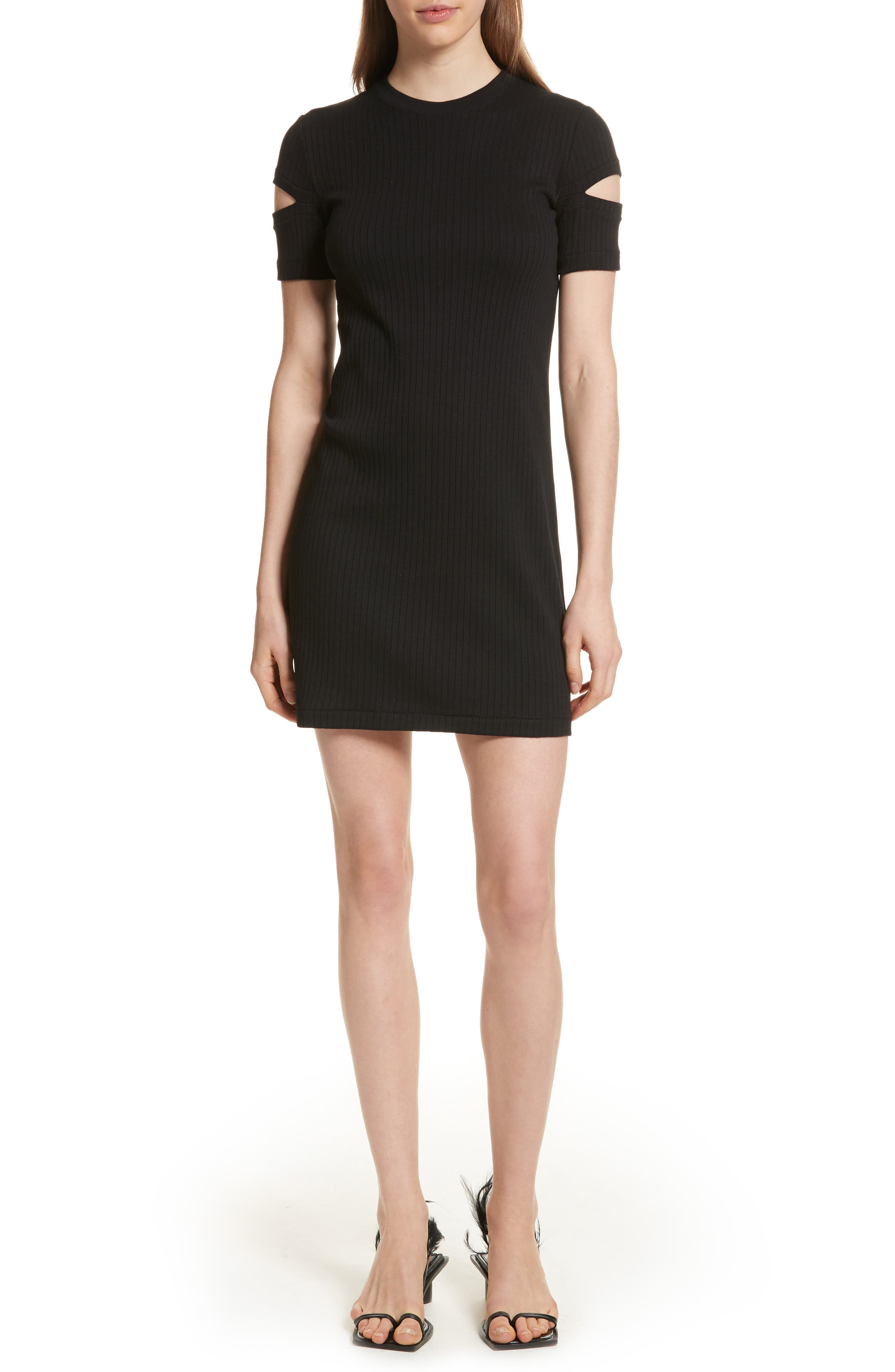 HELMUT LANG, Ribbed Slash Sleeve Dress, Main thumbnail 1, color, BLACK