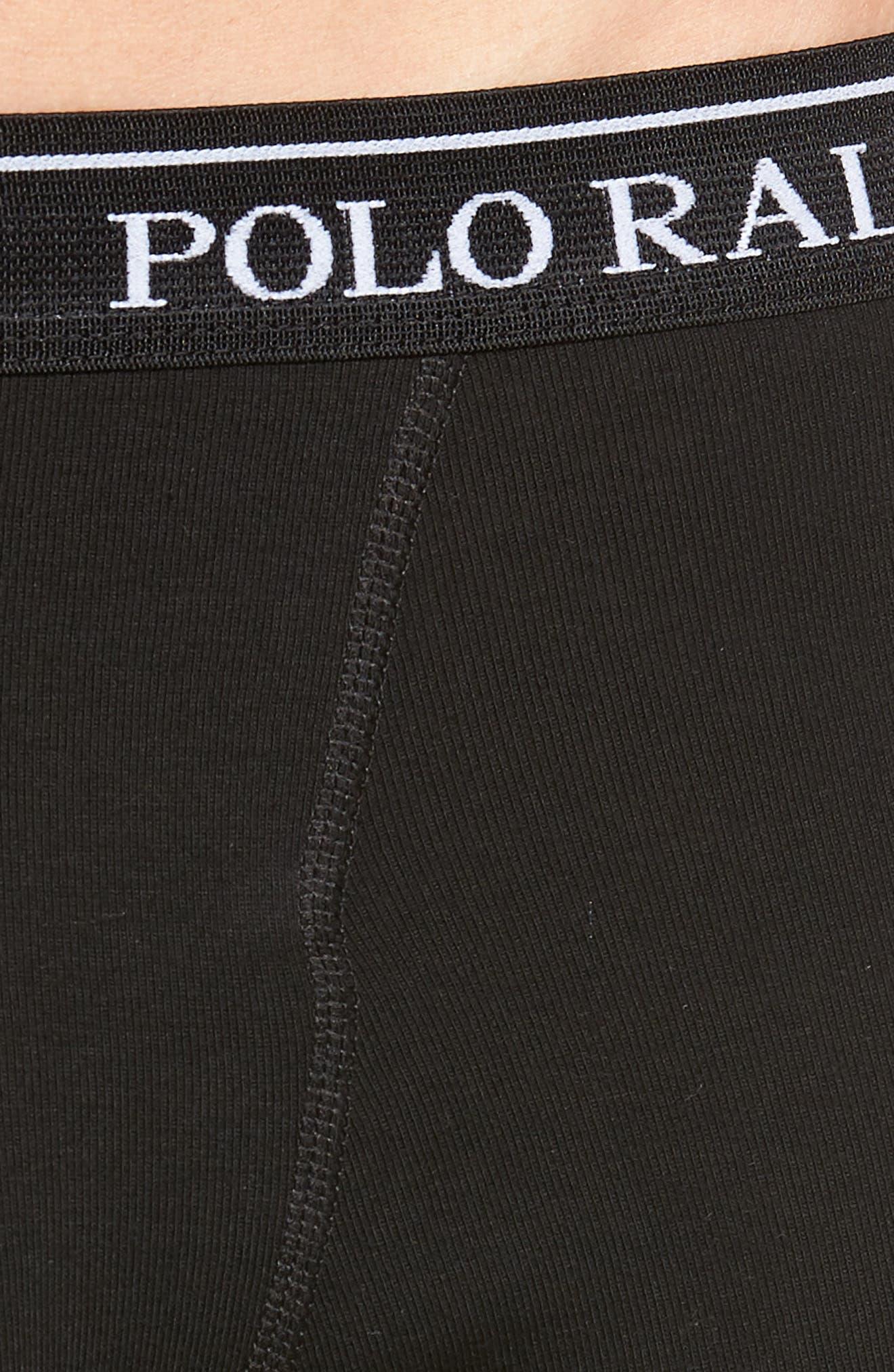 LAUREN RALPH LAUREN, Polo Ralph Lauren 3-Pack Cotton Boxer Briefs, Alternate thumbnail 5, color, POLO BLACK