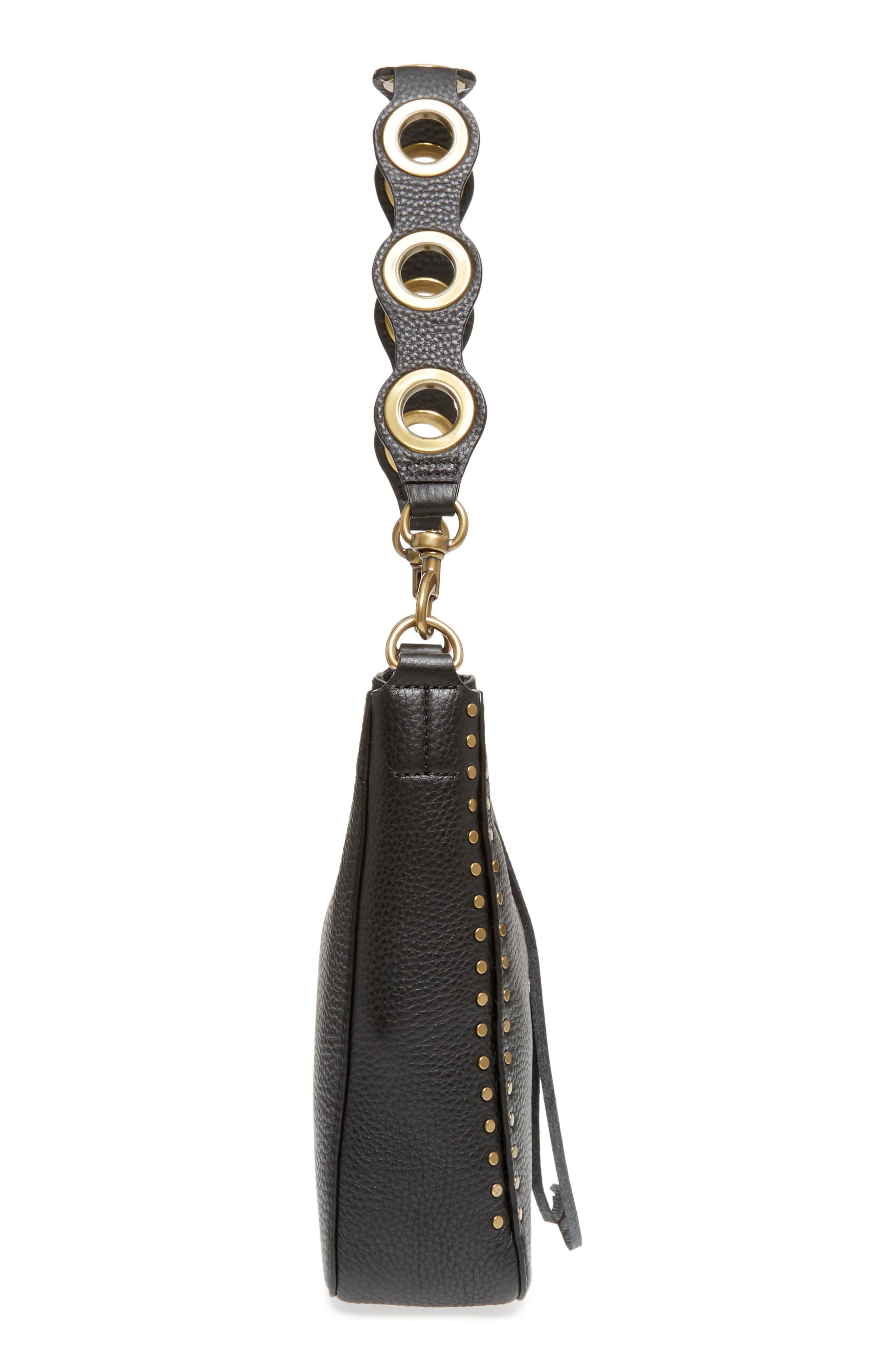 REBECCA MINKOFF, Small Darren Deerskin Leather Feed Bag, Alternate thumbnail 6, color, BLACK