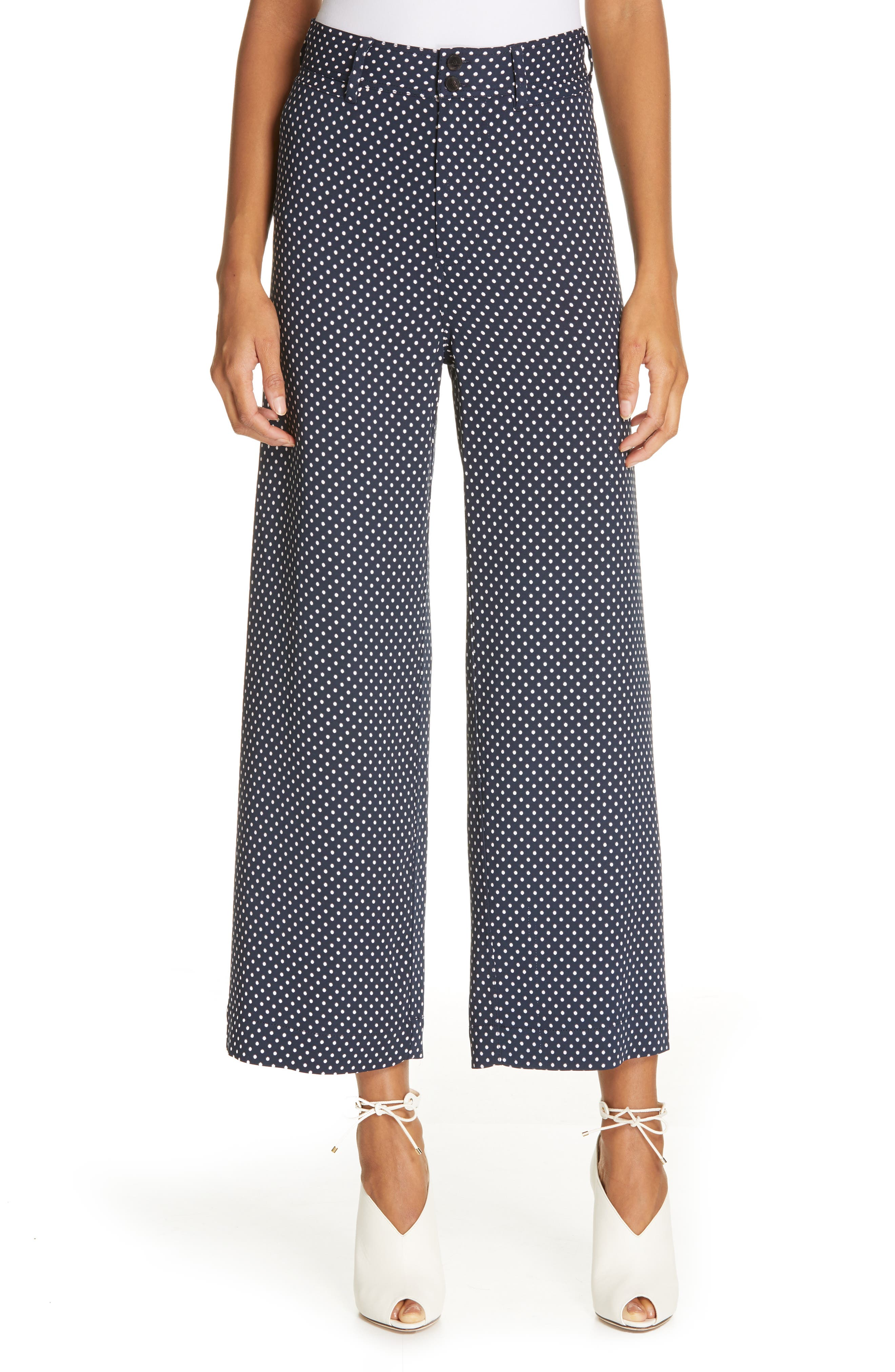 REBECCA TAYLOR Dot Wide Leg Ankle Pants, Main, color, 482