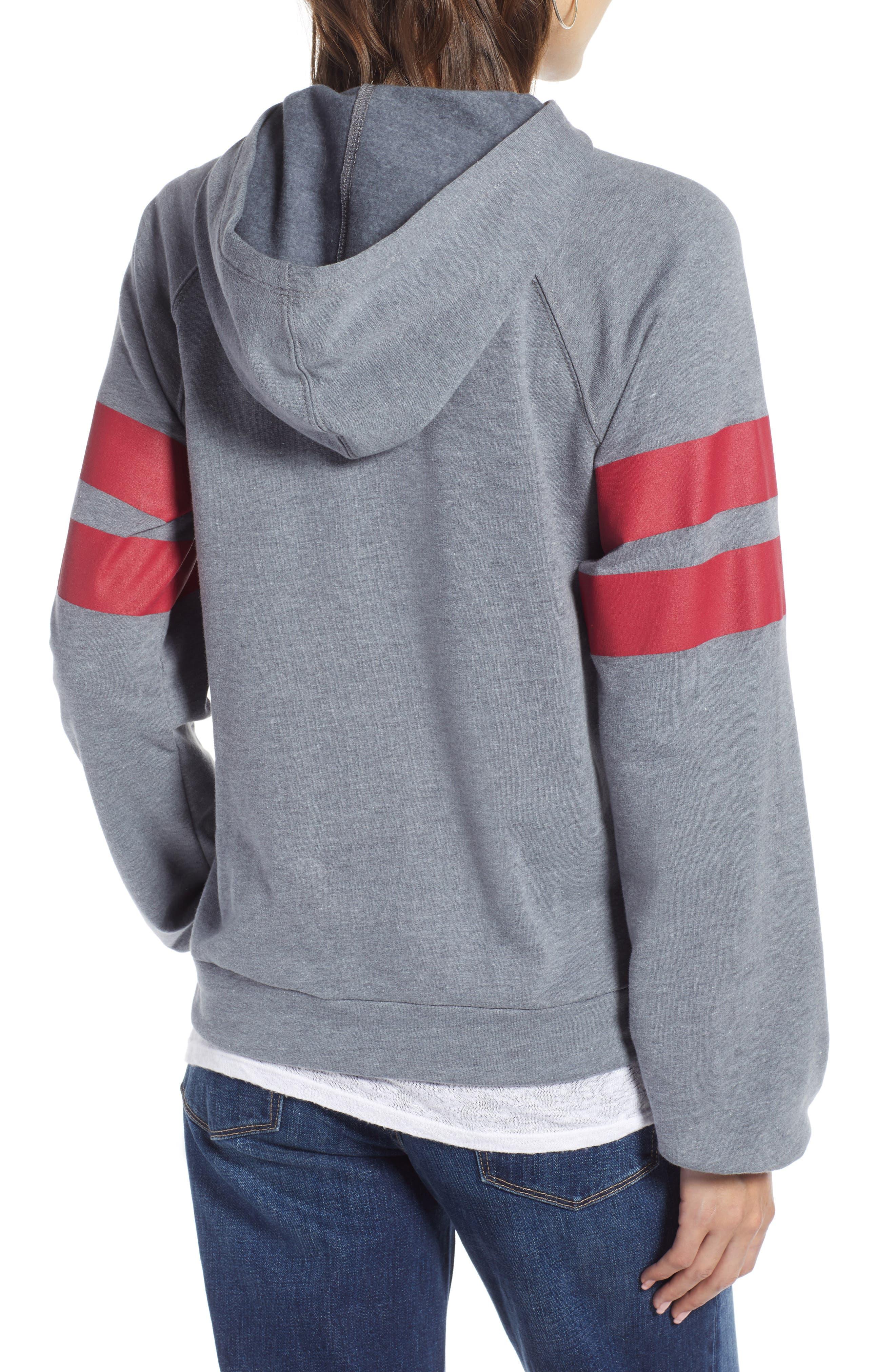 TREASURE & BOND, Varsity Stripe Hoodie, Alternate thumbnail 2, color, GREY TURBULENCE