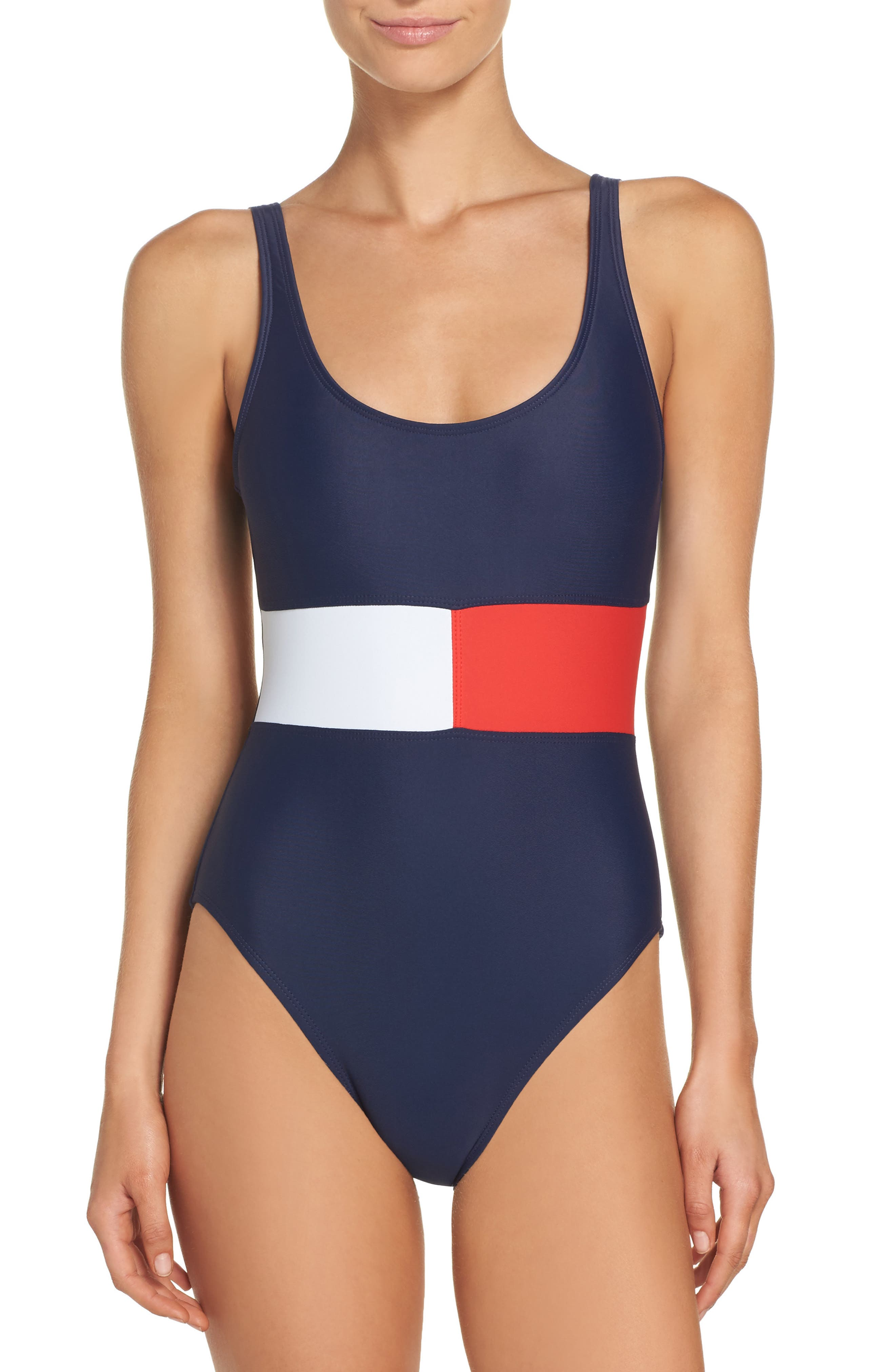 TOMMY HILFIGER Flag One-Piece Swimsuit, Main, color, 400