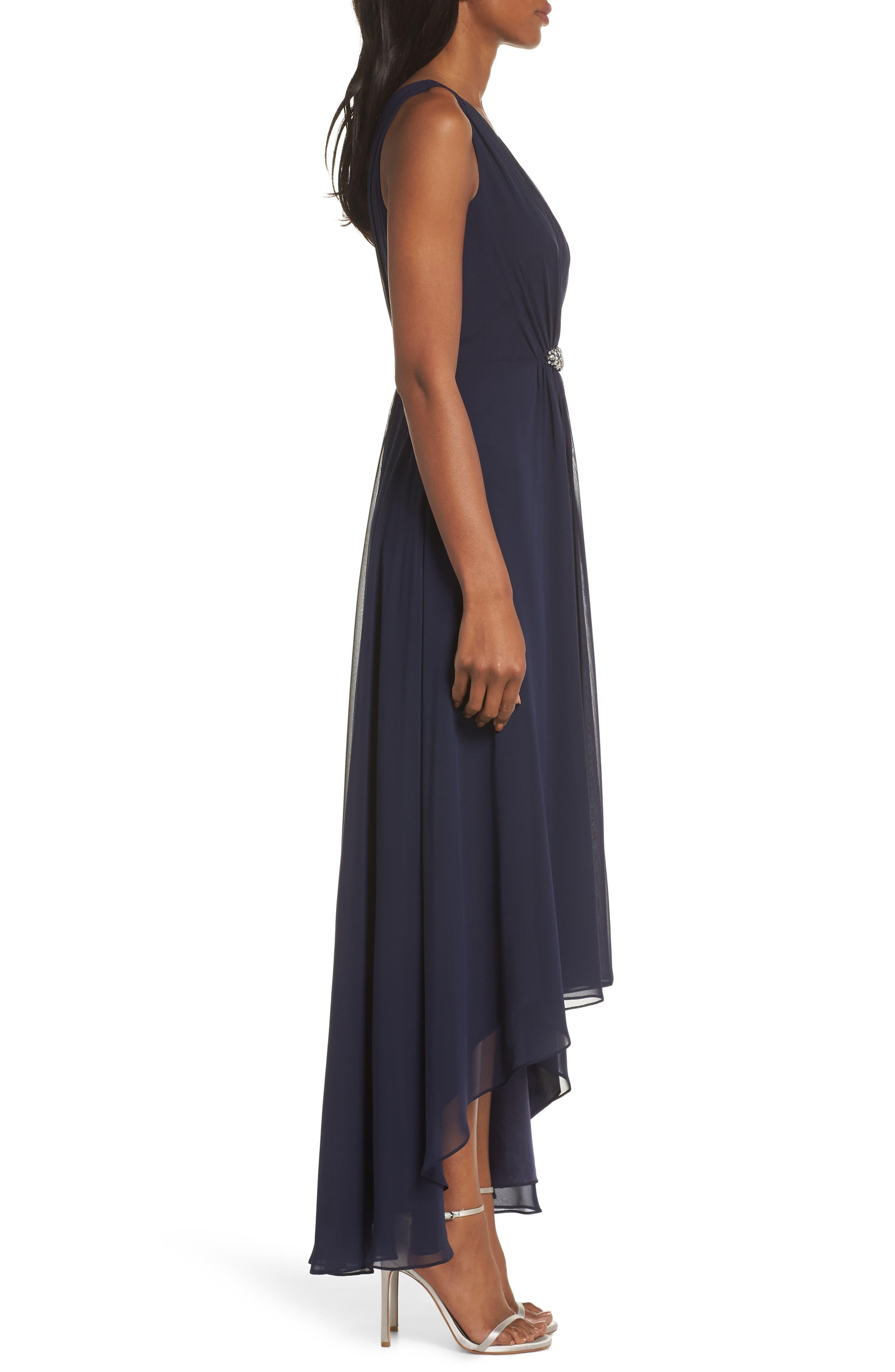 ELIZA J, Wrap Look High/Low Chiffon Dress, Alternate thumbnail 4, color, NAVY