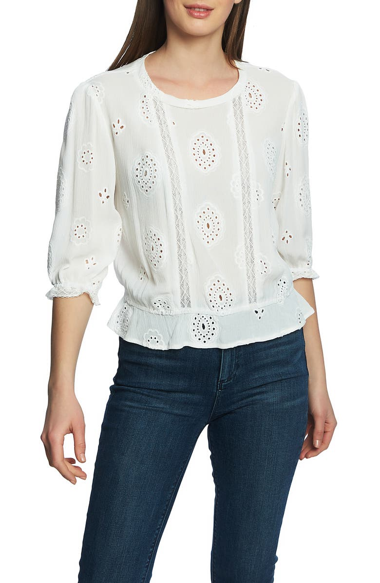1.state Tops LACE INSET EMBROIDERED TOP