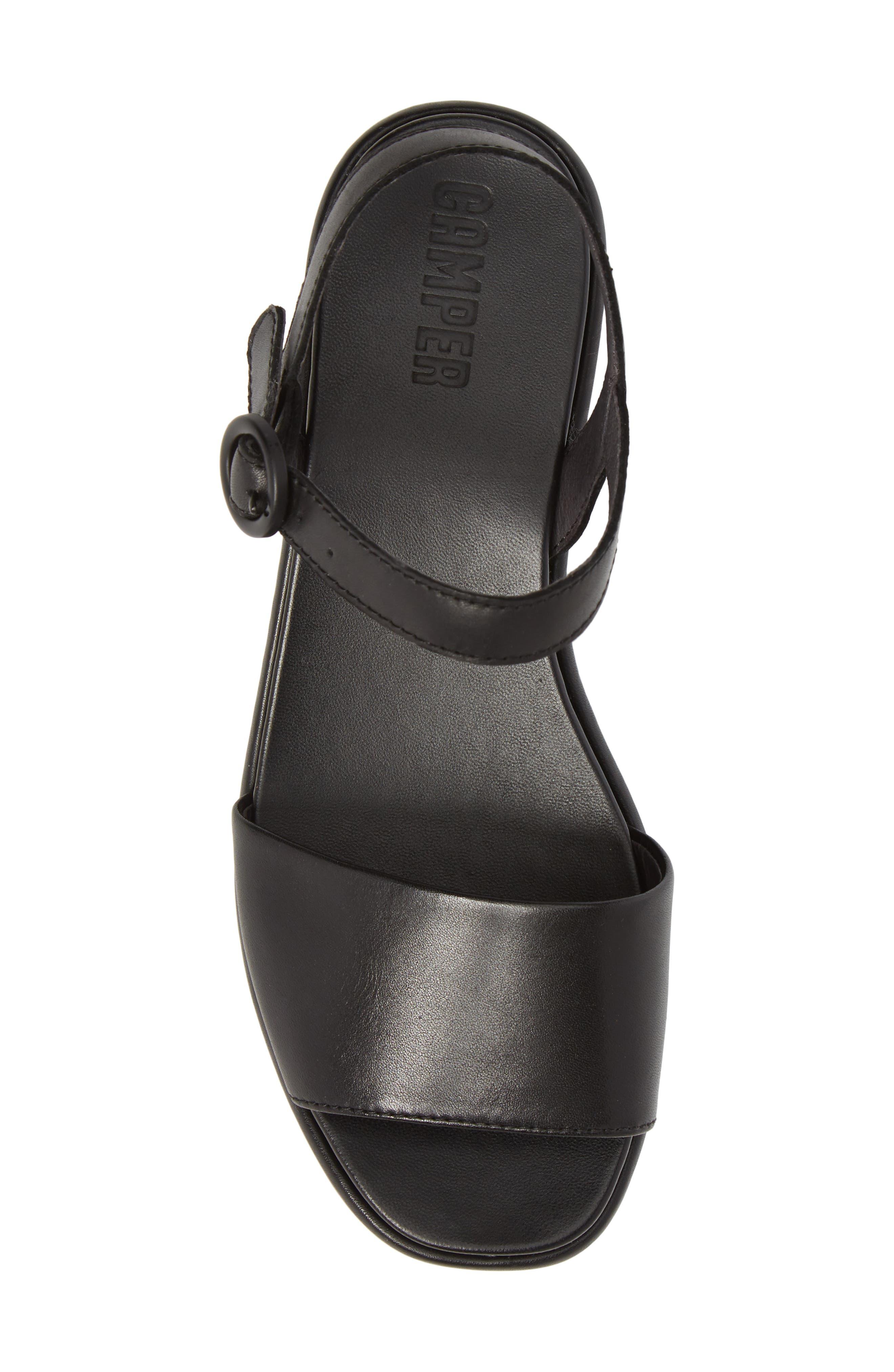 CAMPER, Misia Platform Wedge Sandal, Alternate thumbnail 5, color, BLACK LEATHER