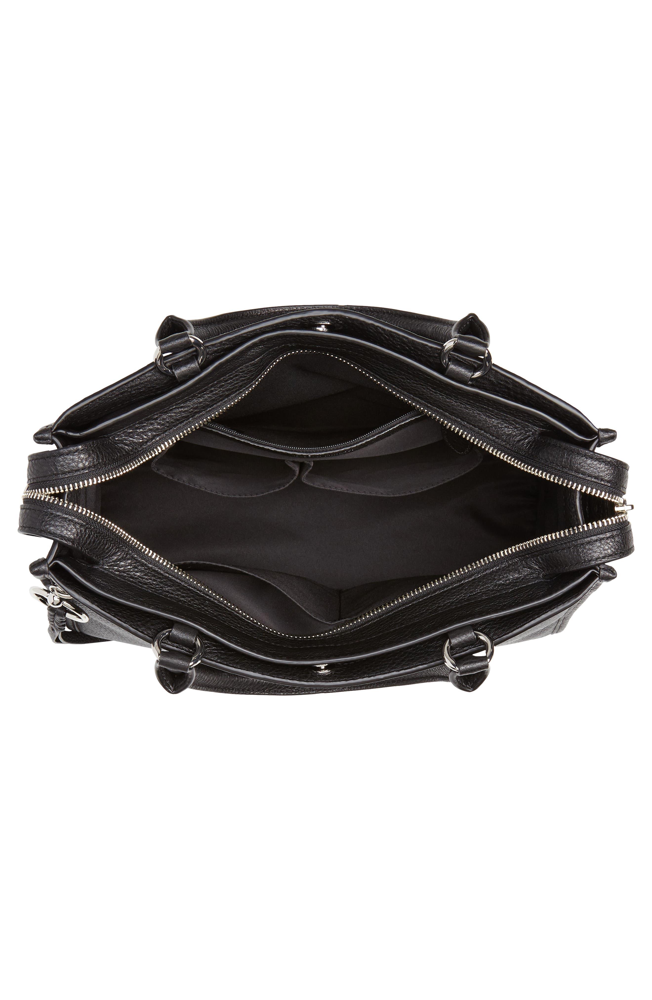 REBECCA MINKOFF, Bedford Zip Leather Satchel, Alternate thumbnail 5, color, BLACK