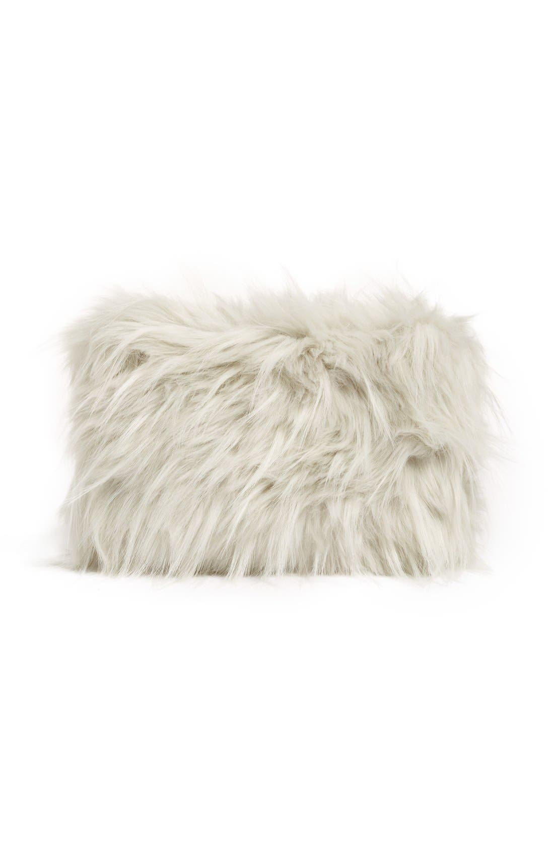 NORDSTROM AT HOME, Cuddle Up Faux Fur Pouch, Alternate thumbnail 3, color, 030