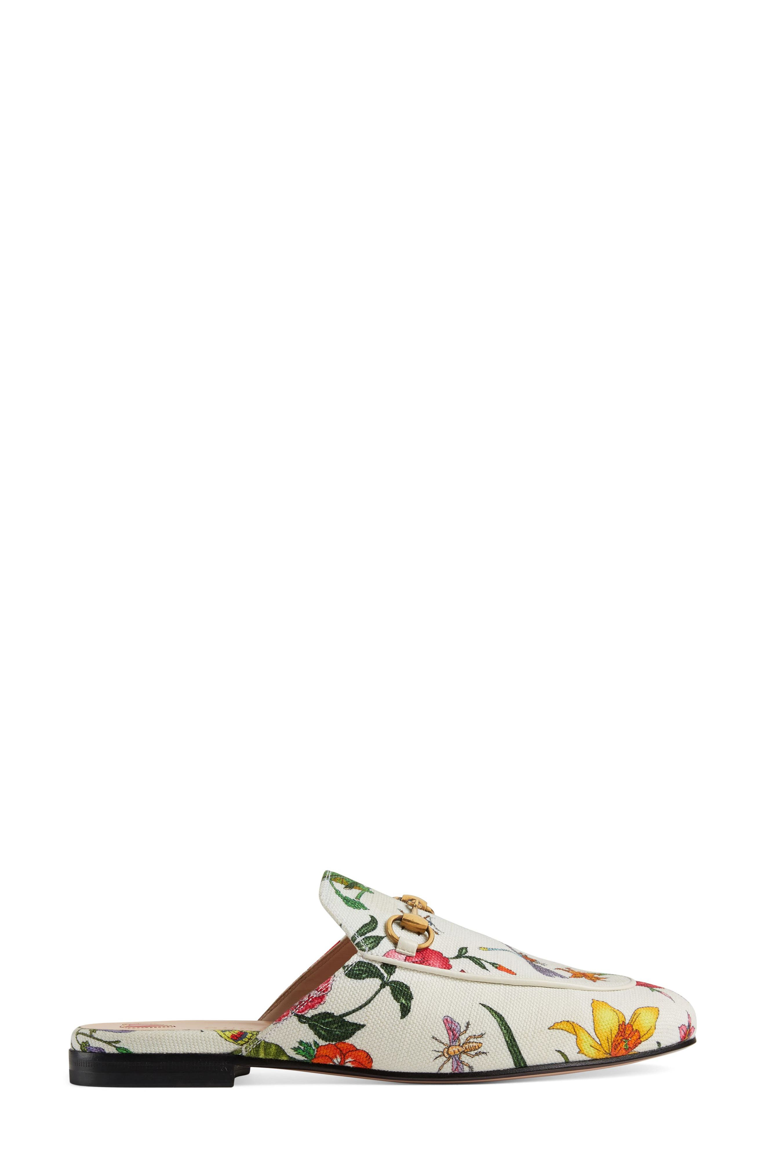 GUCCI, Princetown Loafer Mule, Alternate thumbnail 2, color, WHITE FLORAL