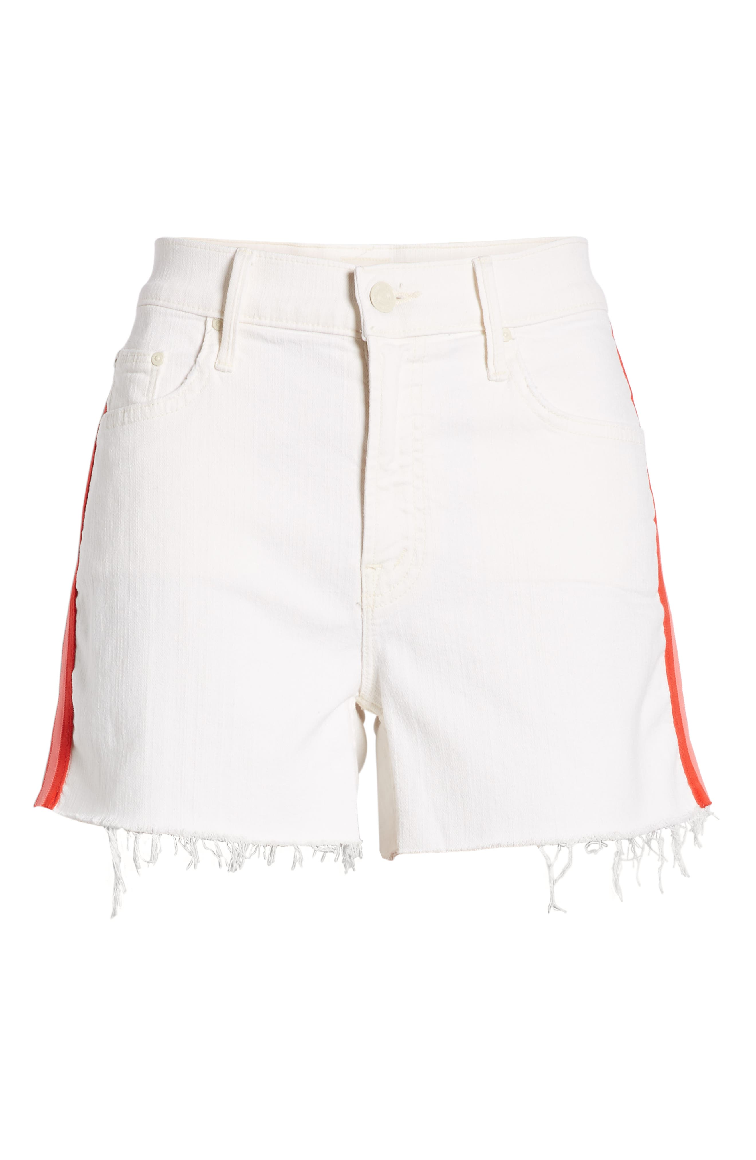 MOTHER, The Sinner Frayed Denim Shorts, Alternate thumbnail 5, color, WHIPPING THE CREAM PINK RACER