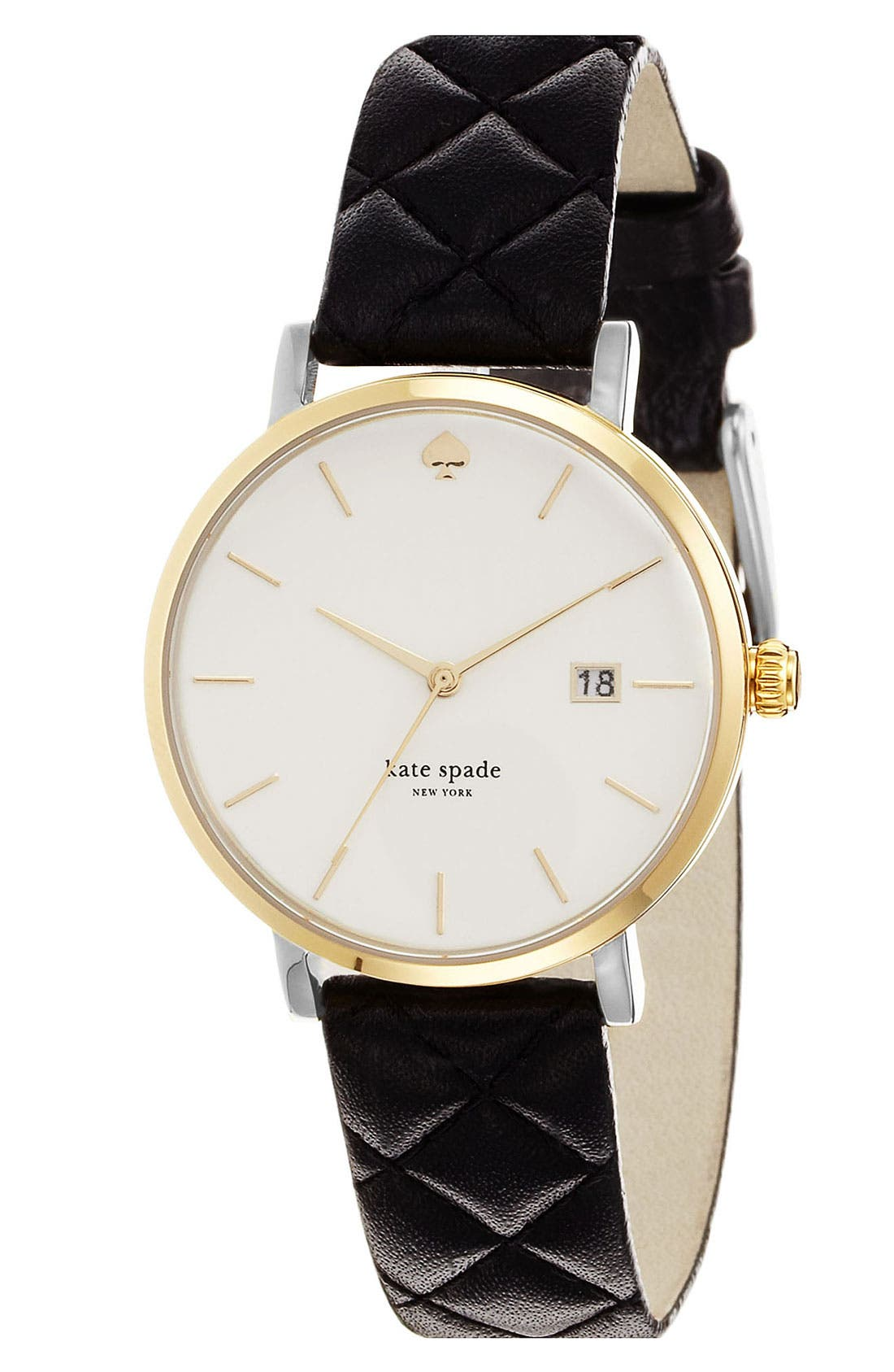 KATE SPADE NEW YORK, 'metro grand' quilted strap watch, 38mm, Alternate thumbnail 4, color, 001