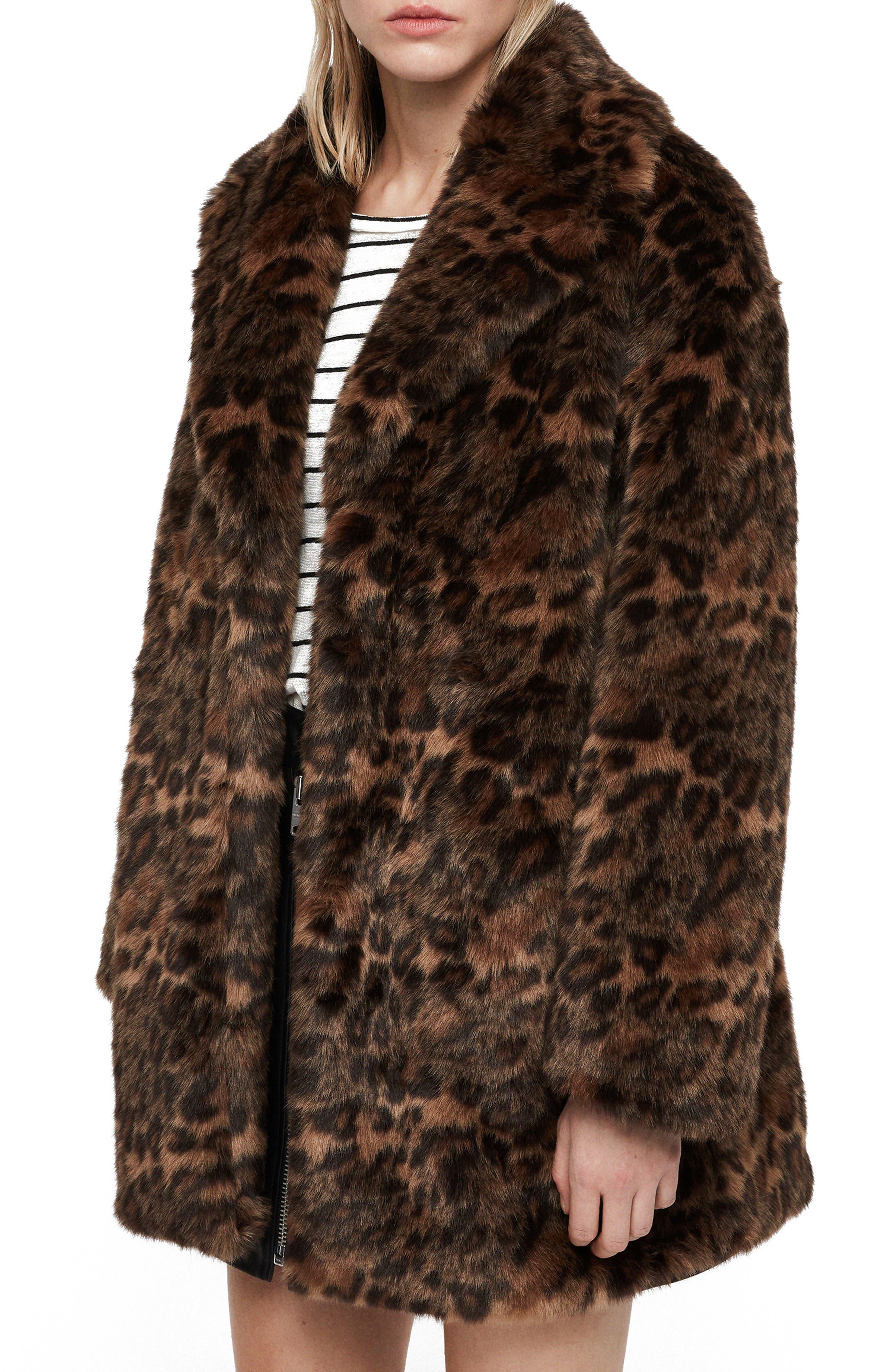 ALLSAINTS, Amice Leopard Spot Faux Fur Jacket, Alternate thumbnail 4, color, 200