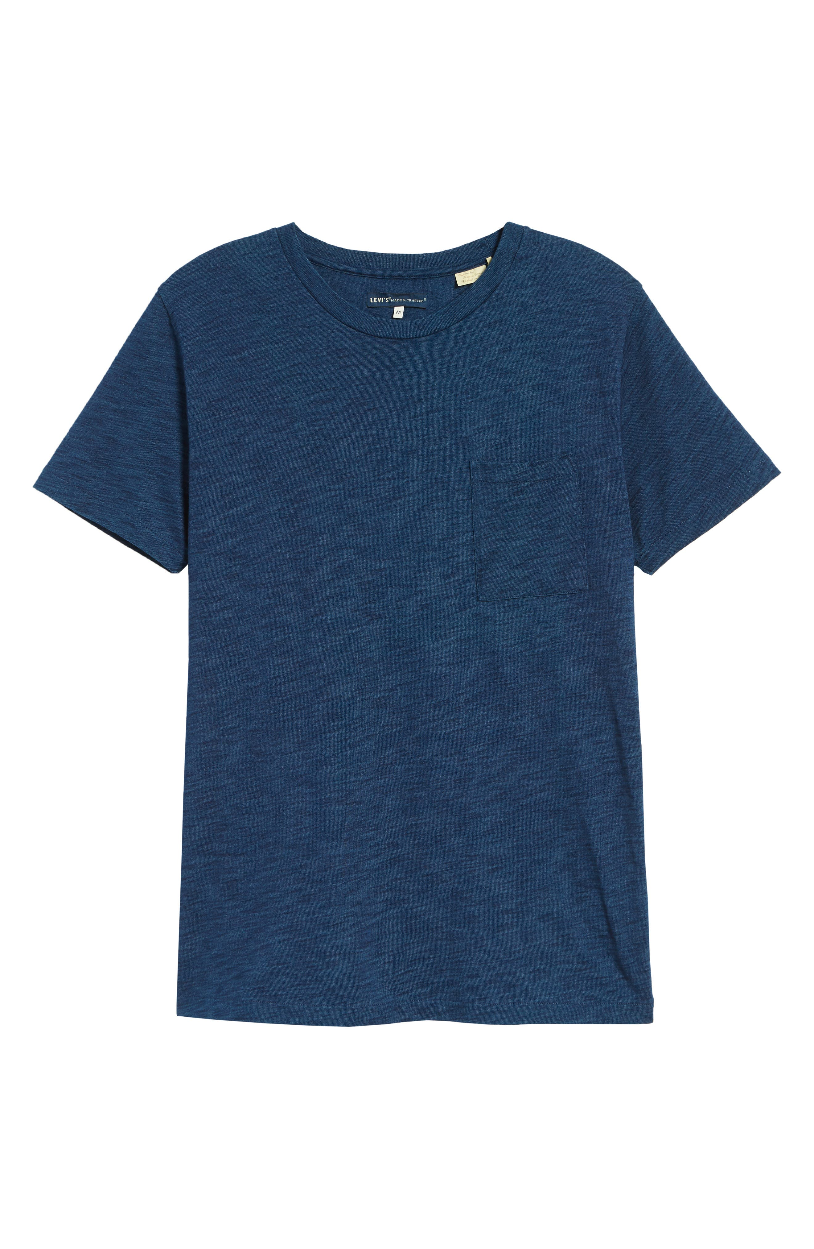 LEVI'S<SUP>®</SUP> MADE & CRAFTED<SUP>™</SUP>, Pocket T-Shirt, Alternate thumbnail 6, color, WASHED BLUE INDIGO
