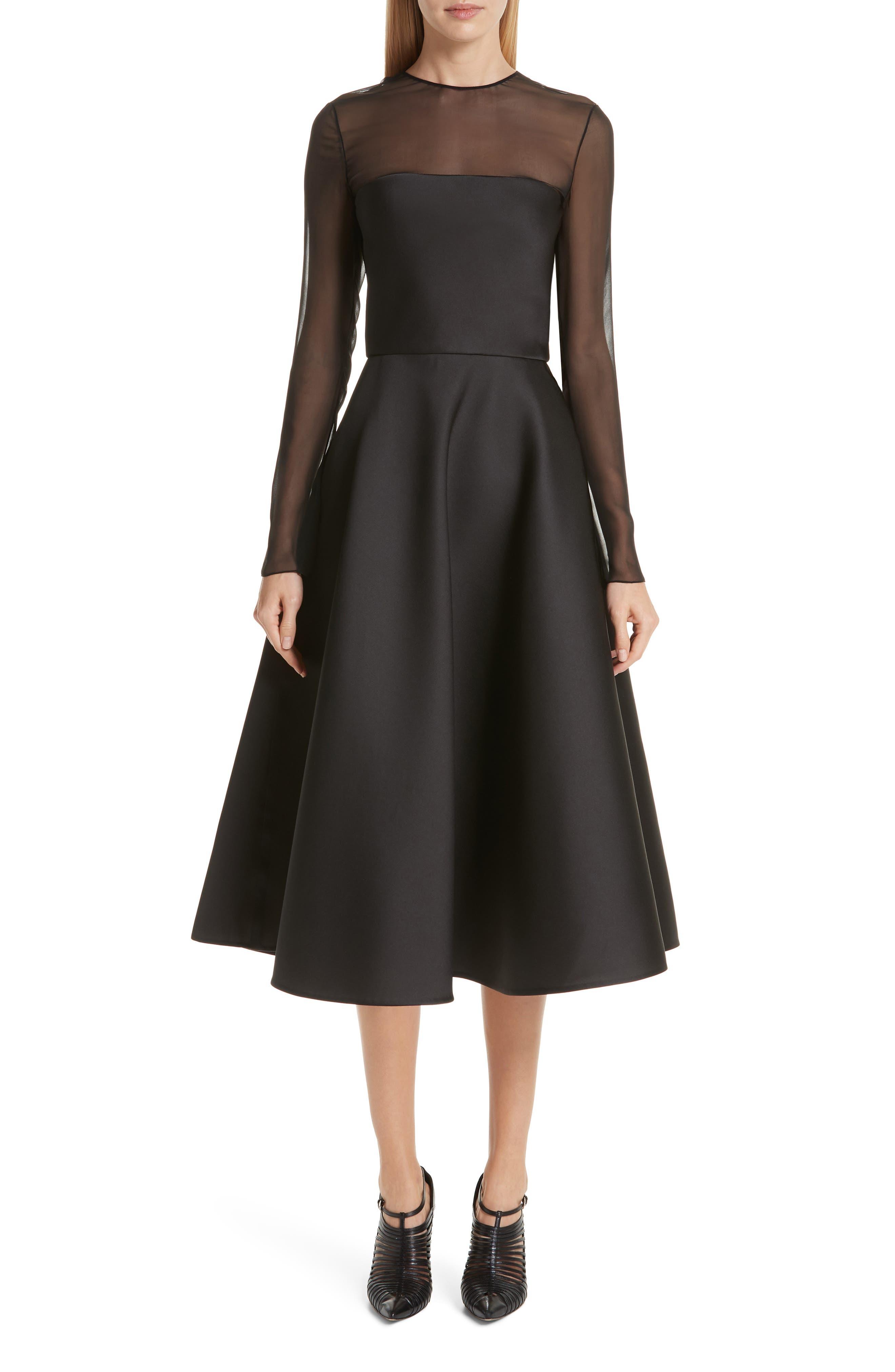 Jason Wu Collection Mesh Panel Double Face Satin Tea Length Dress, Black