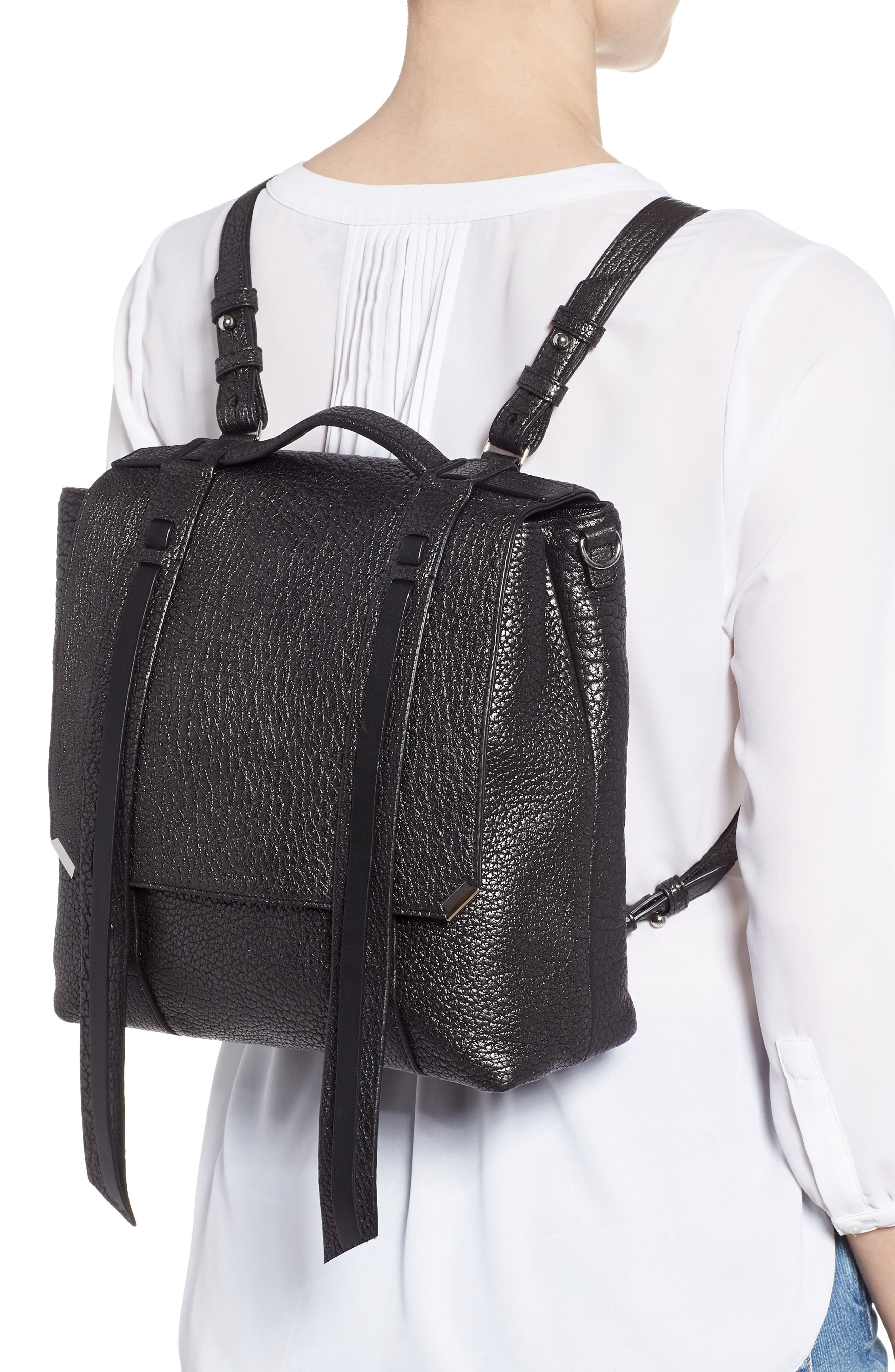 ALLSAINTS, Vincent Leather Backpack, Alternate thumbnail 2, color, 022