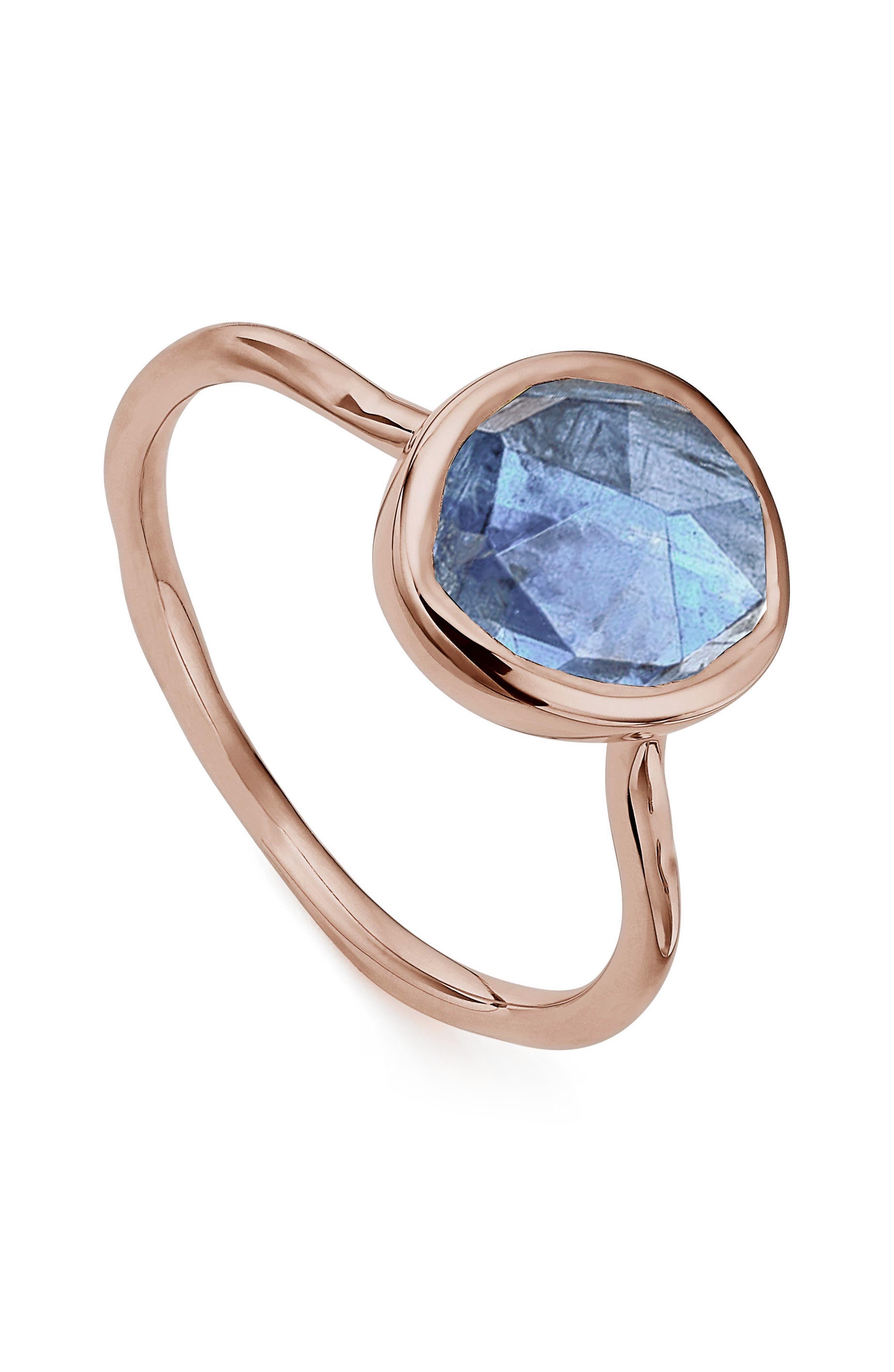 MONICA VINADER, Siren Semiprecious Stone Stacking Ring, Alternate thumbnail 3, color, ROSE GOLD/ KYANITE