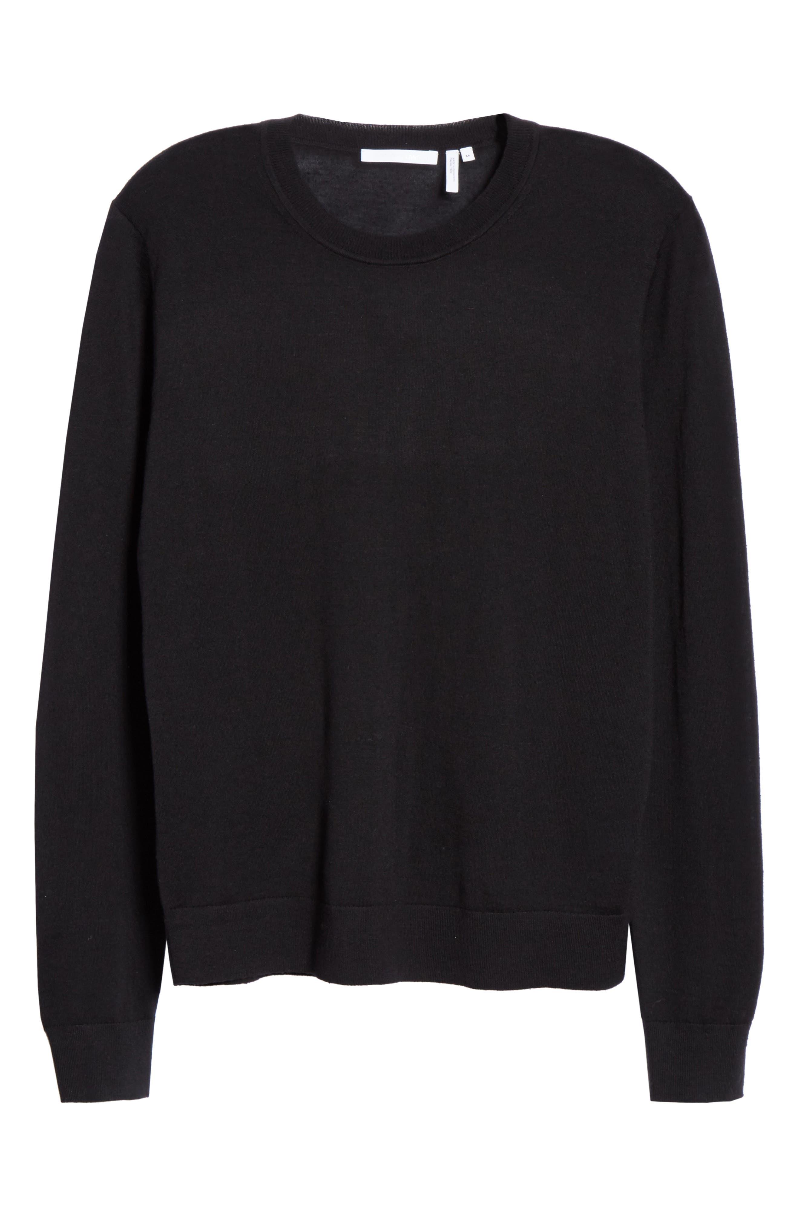 HELMUT LANG, Back Logo Wool & Silk Sweatshirt, Alternate thumbnail 6, color, BLACK