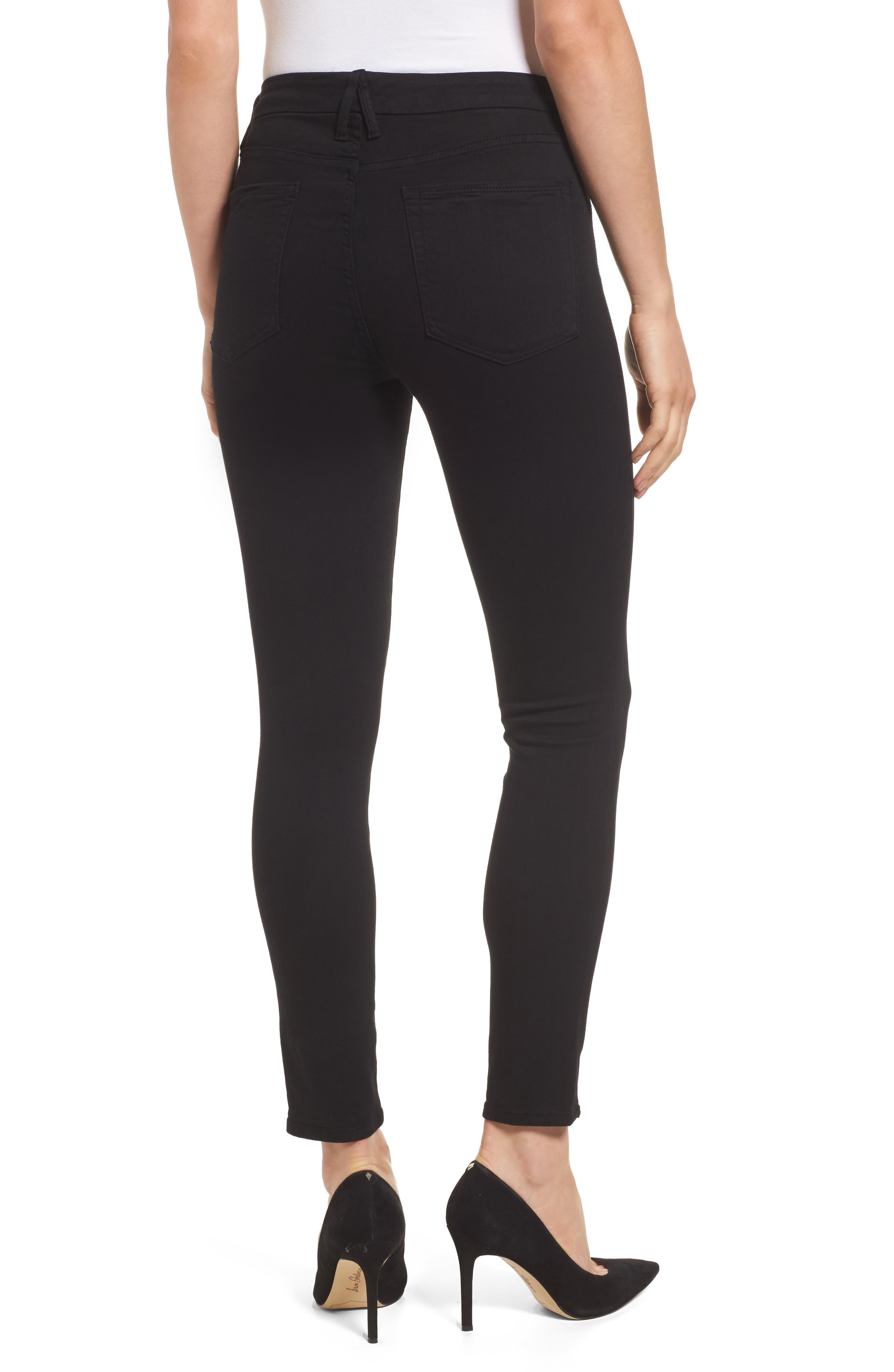 GOOD AMERICAN, Good Legs High Rise Crop Skinny Jeans, Alternate thumbnail 2, color, BLACK 001