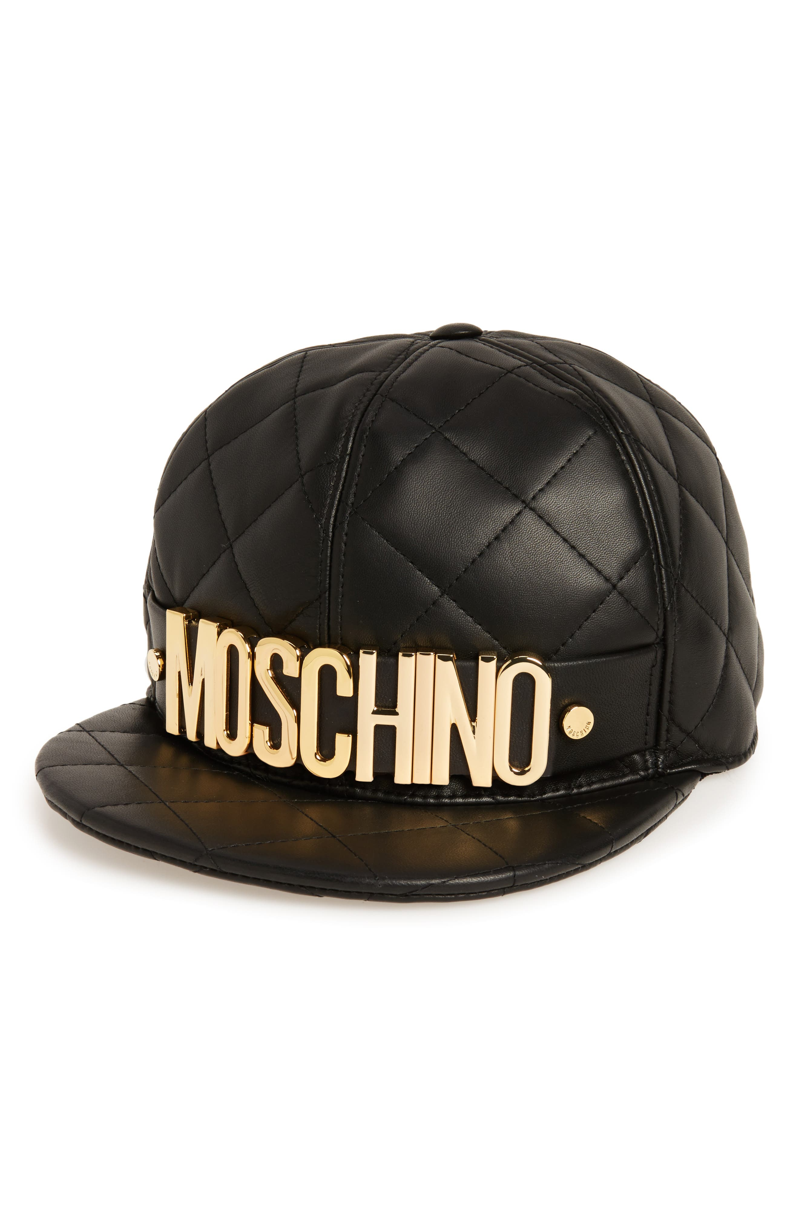 MOSCHINO Quilted Leather Baseball Cap, Main, color, BLACK