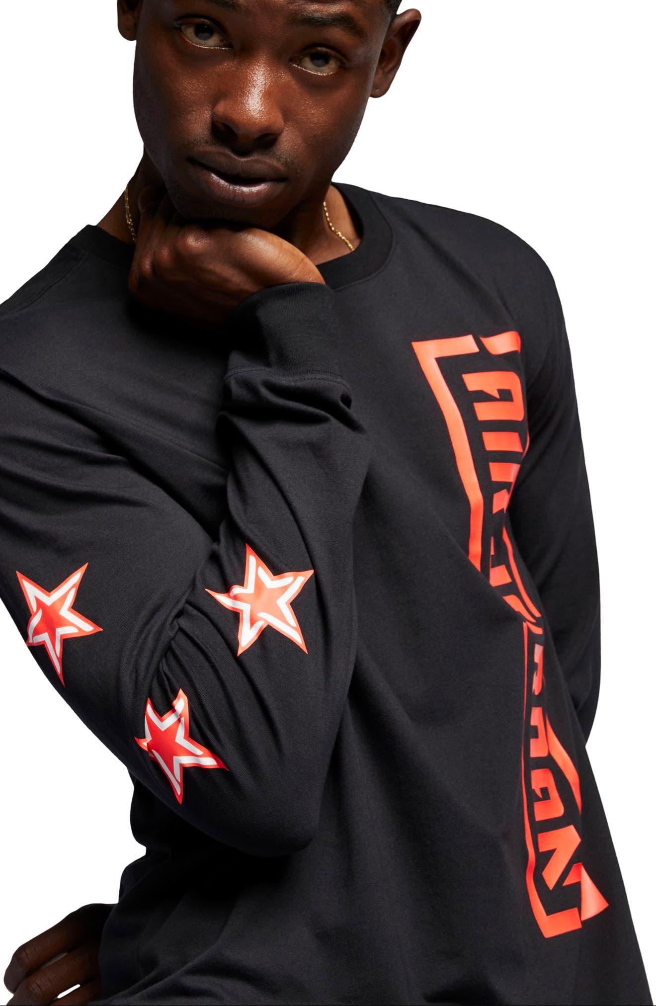 JORDAN, JSW Long Sleeve T-Shirt, Alternate thumbnail 2, color, BLACK/ INFRARED 23