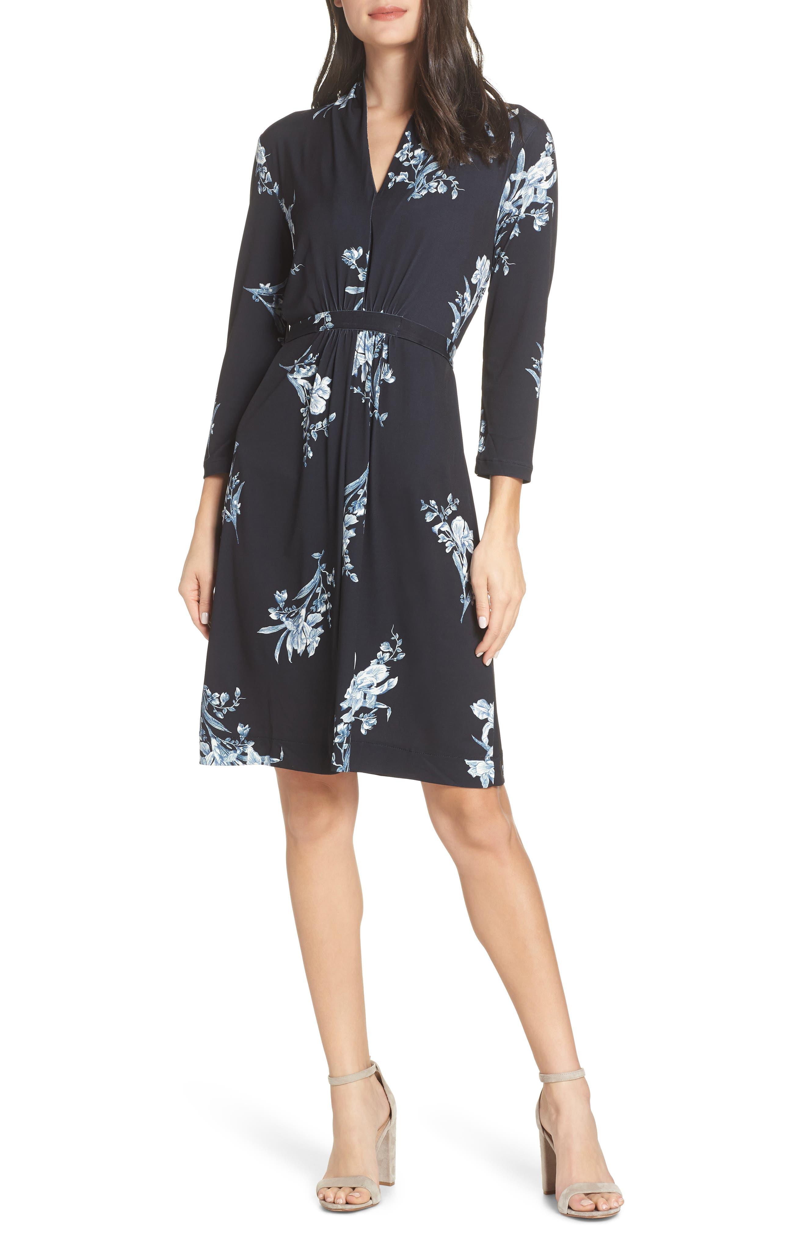 FRENCH CONNECTION, Laila Floral Print Dress, Main thumbnail 1, color, BLACK MULTI