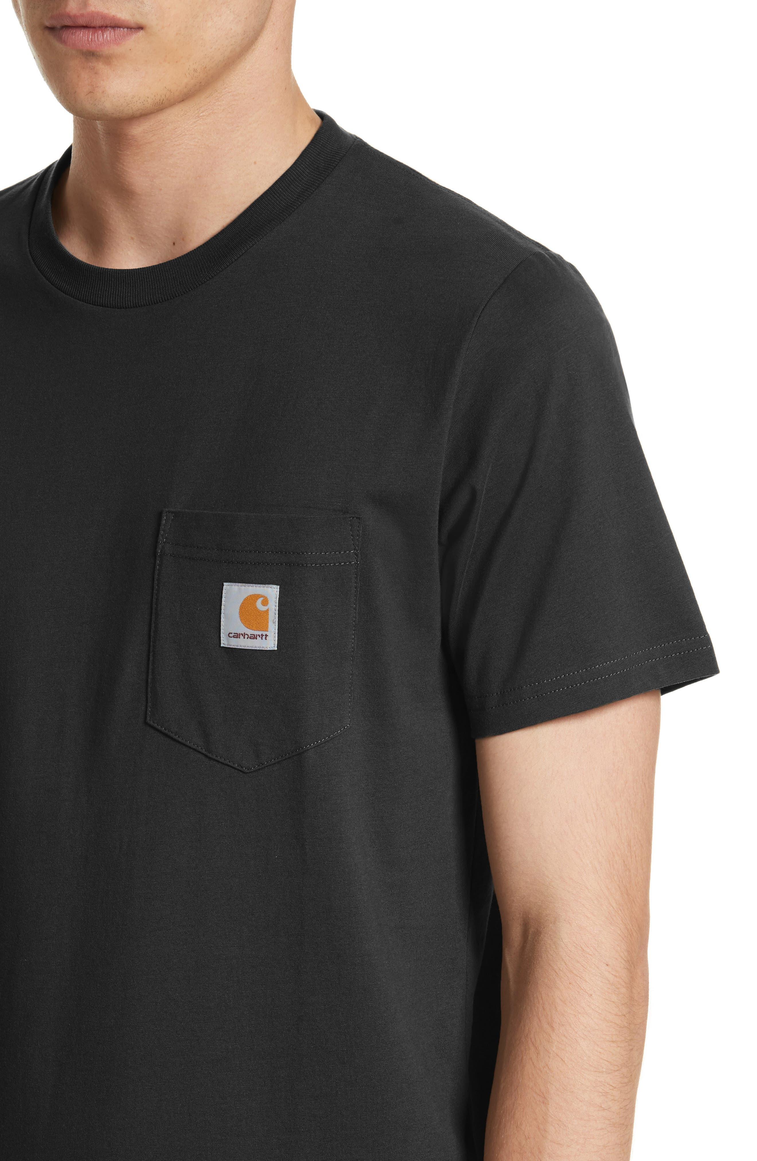 CARHARTT WORK IN PROGRESS, Logo Pocket T-Shirt, Alternate thumbnail 4, color, BLACK