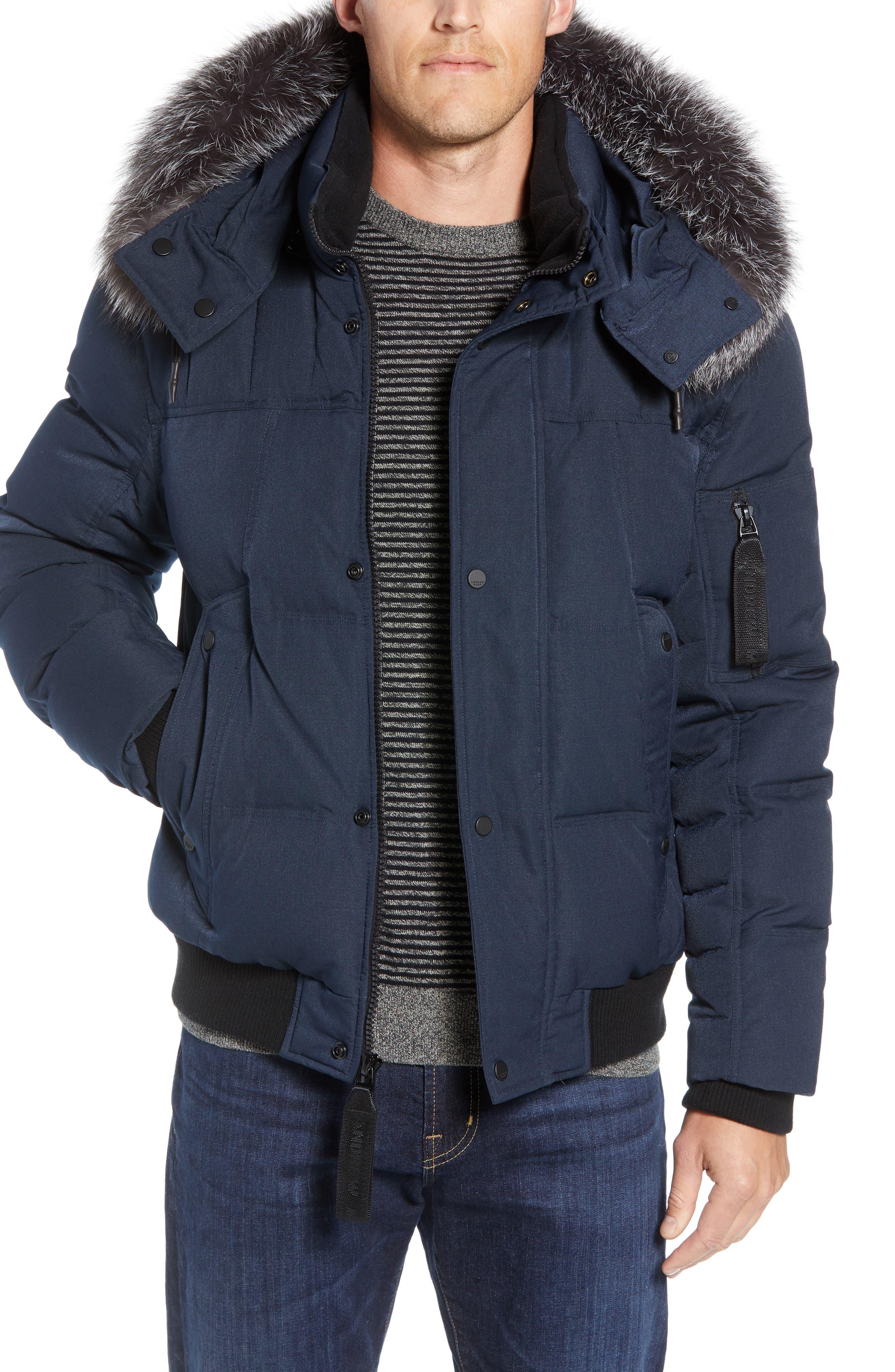Andrew Marc Bennett Genuine Fox Fur Trim Down Bomber Jacket, Blue