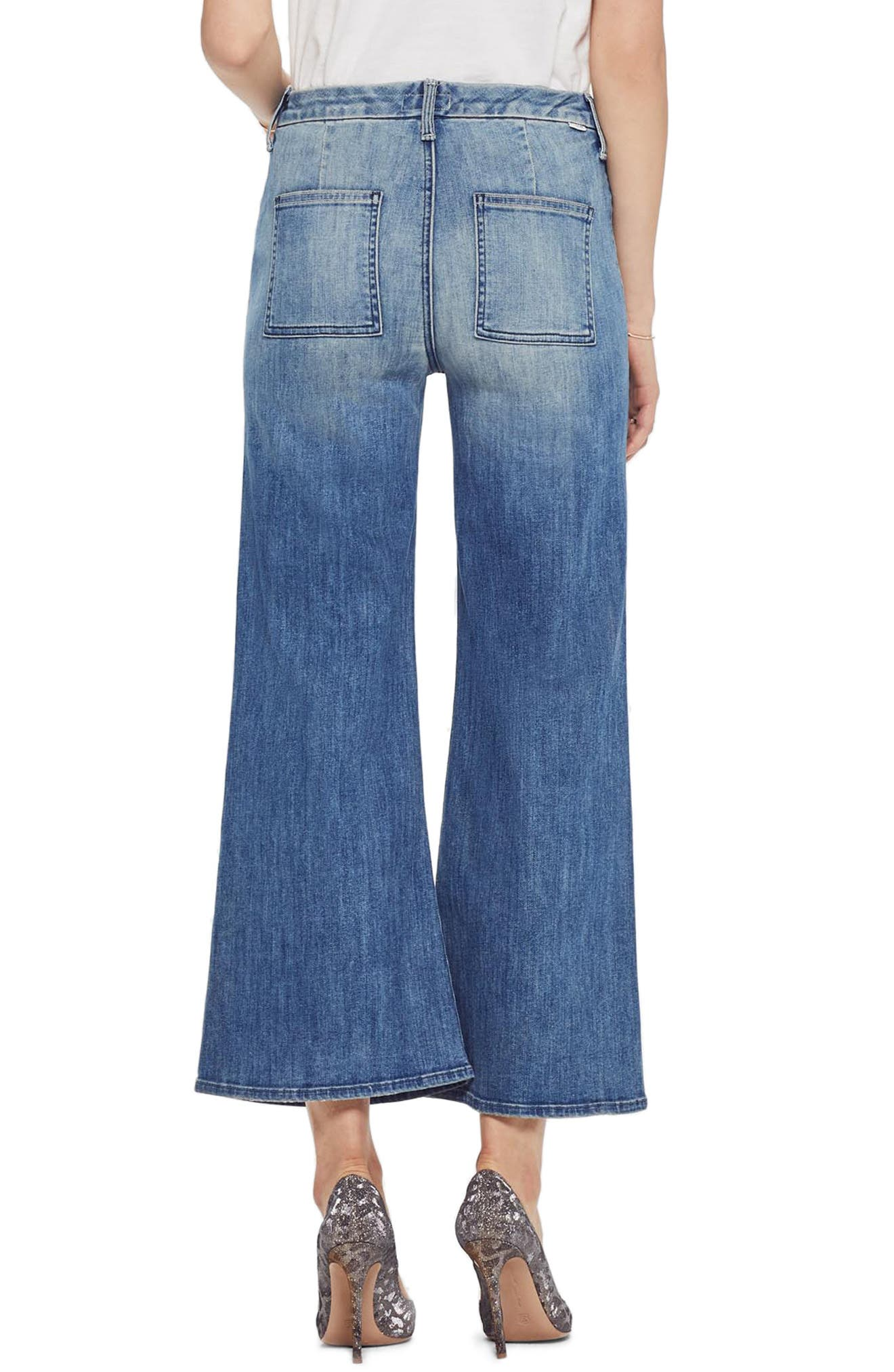 MOTHER, The Lace Up Crop Flare Jeans, Alternate thumbnail 2, color, WHERE THERES SMOKE