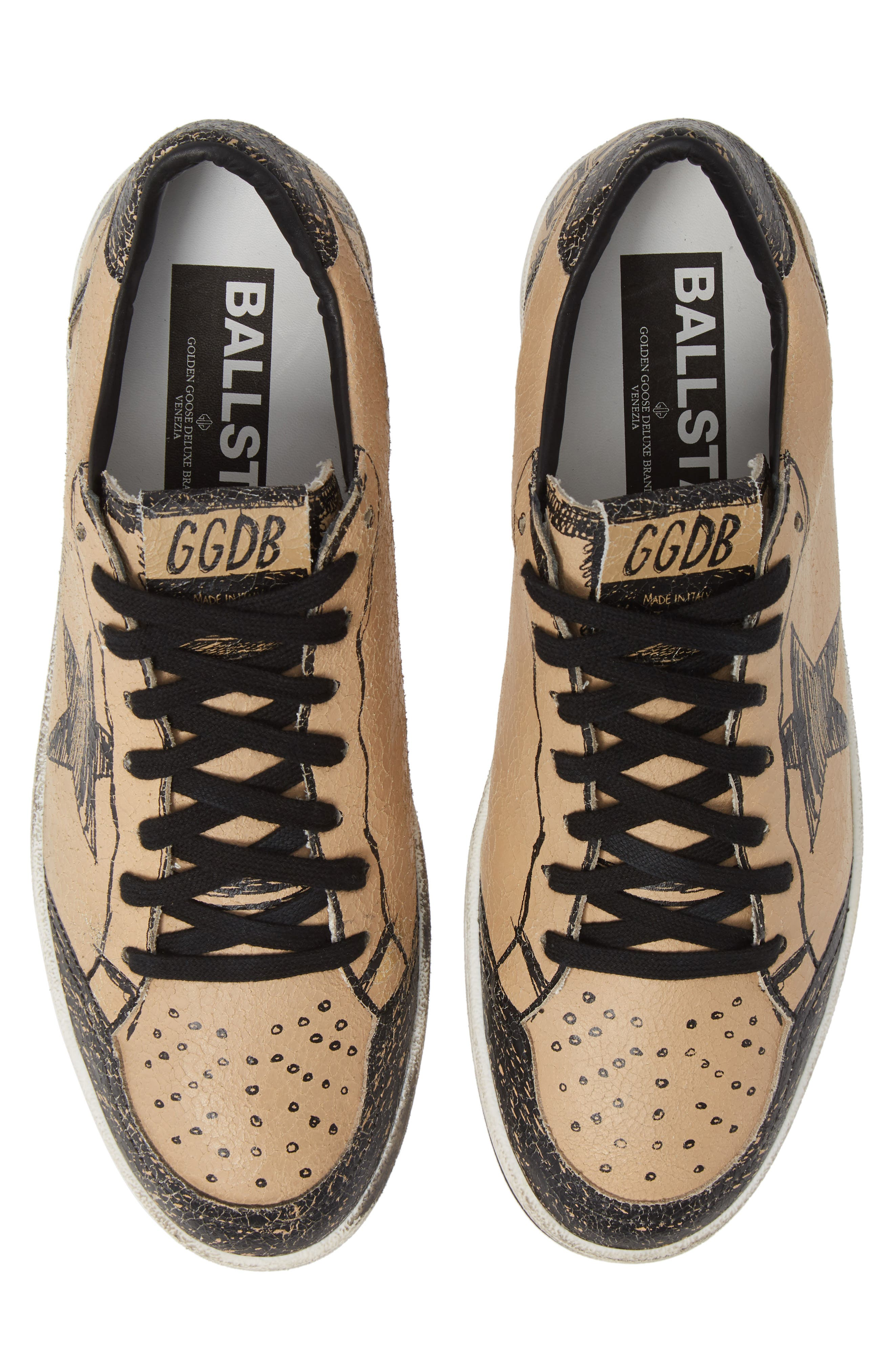 GOLDEN GOOSE, B-Ball Star Sneaker, Alternate thumbnail 5, color, BLACK DRAWING