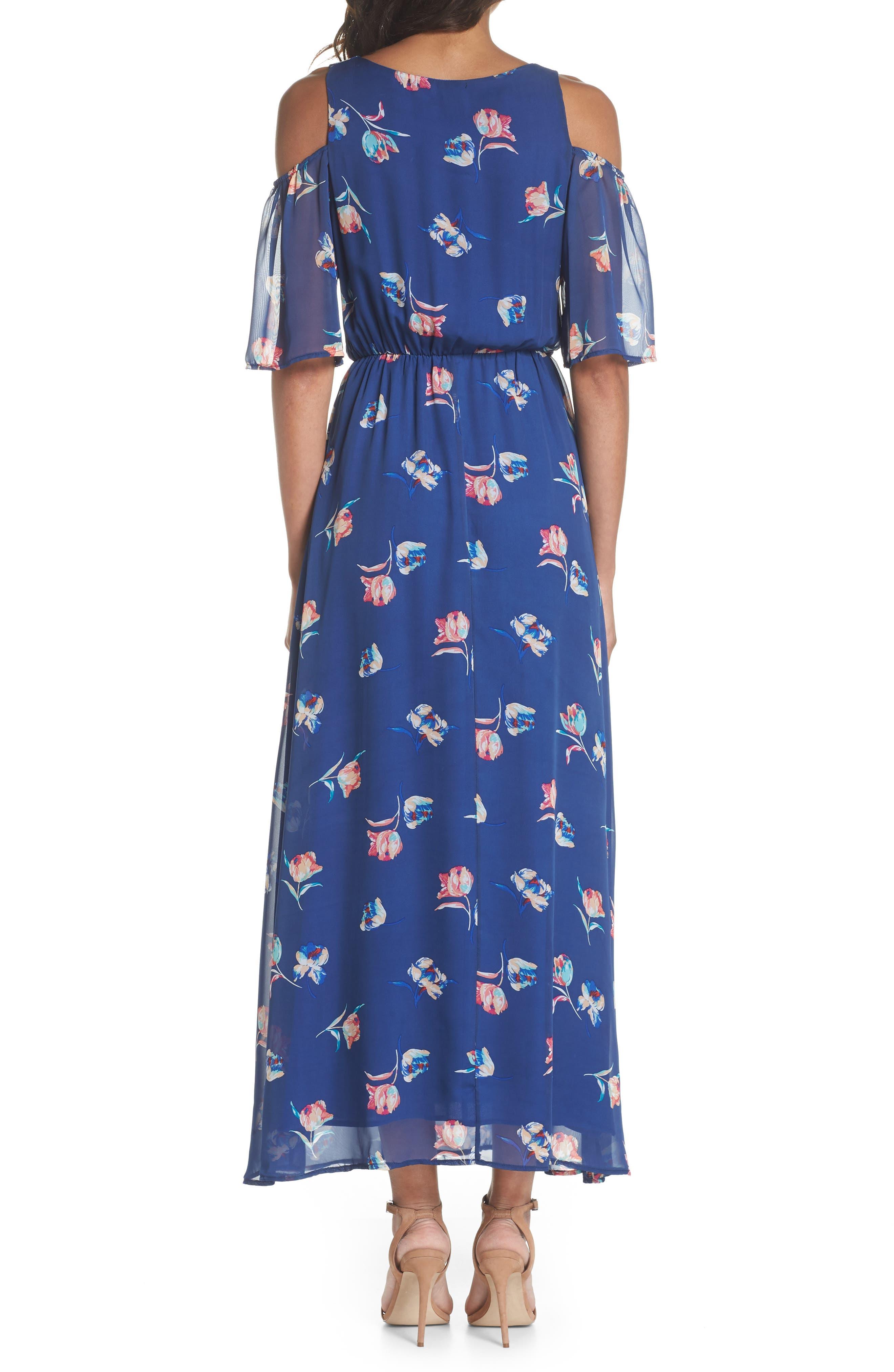 FRAICHE BY J, Cold Shoulder Maxi Dress, Alternate thumbnail 2, color, CASSY BLUE