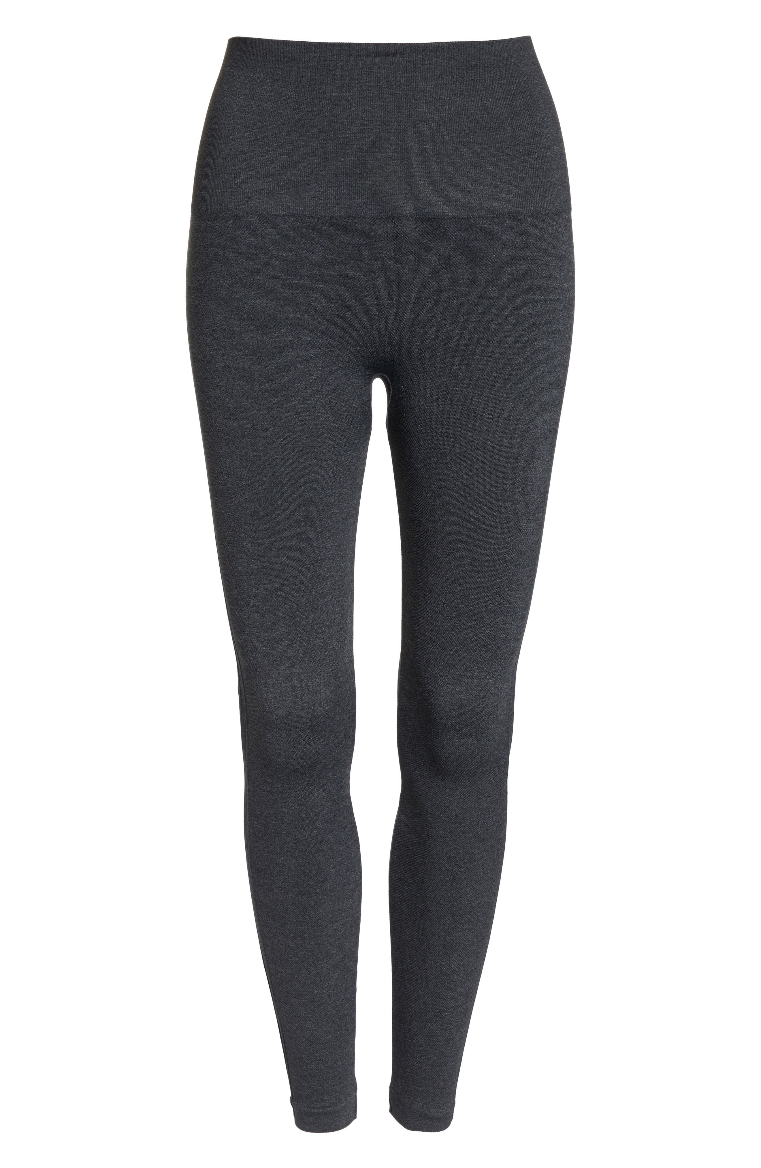 SPANX<SUP>®</SUP>, Look at Me Now' Seamless Leggings, Alternate thumbnail 7, color, HEATHER CHARCOAL