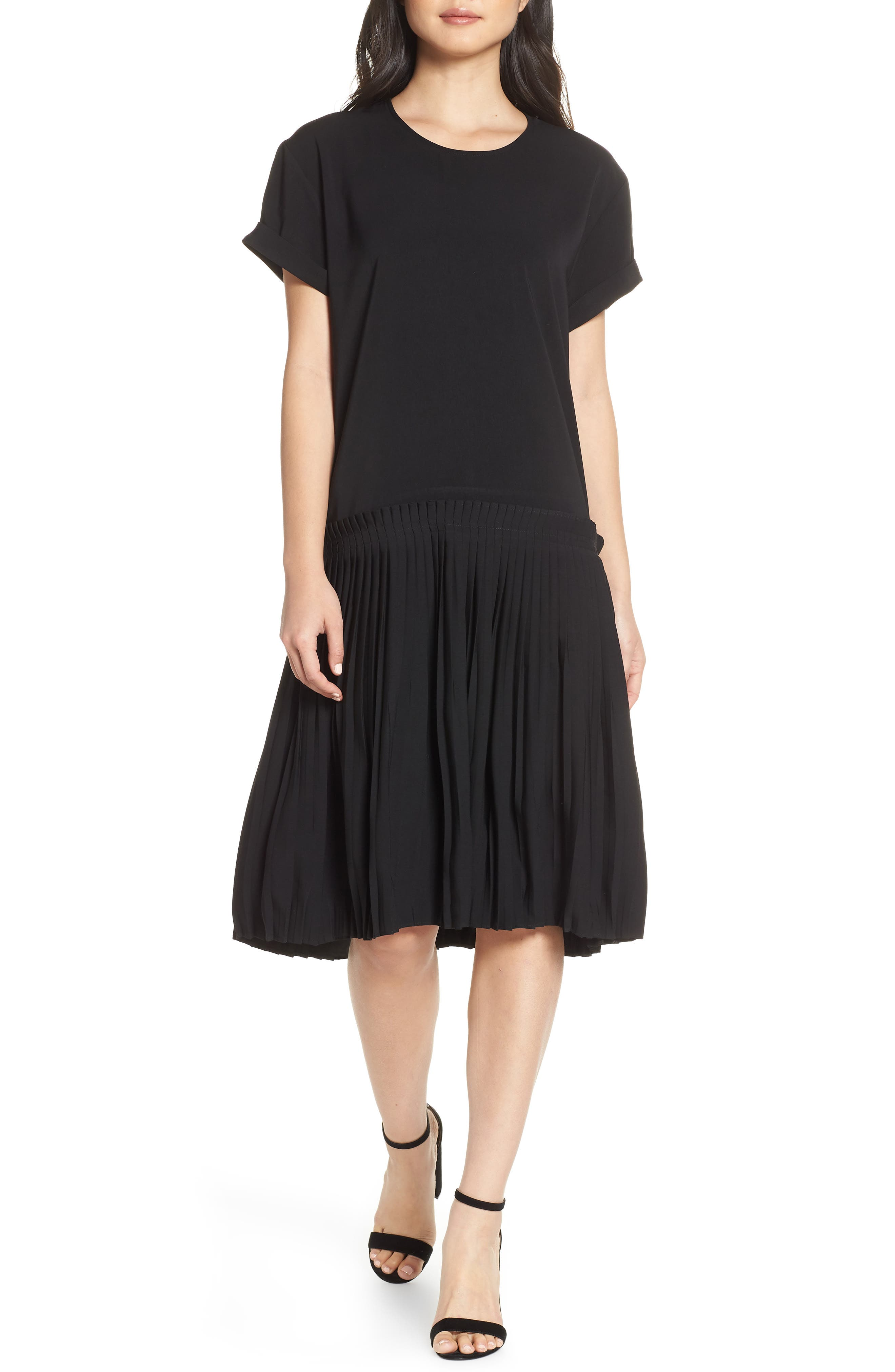 c4468271dd Caara Crystal Pleated Drop Waist Shift Dress
