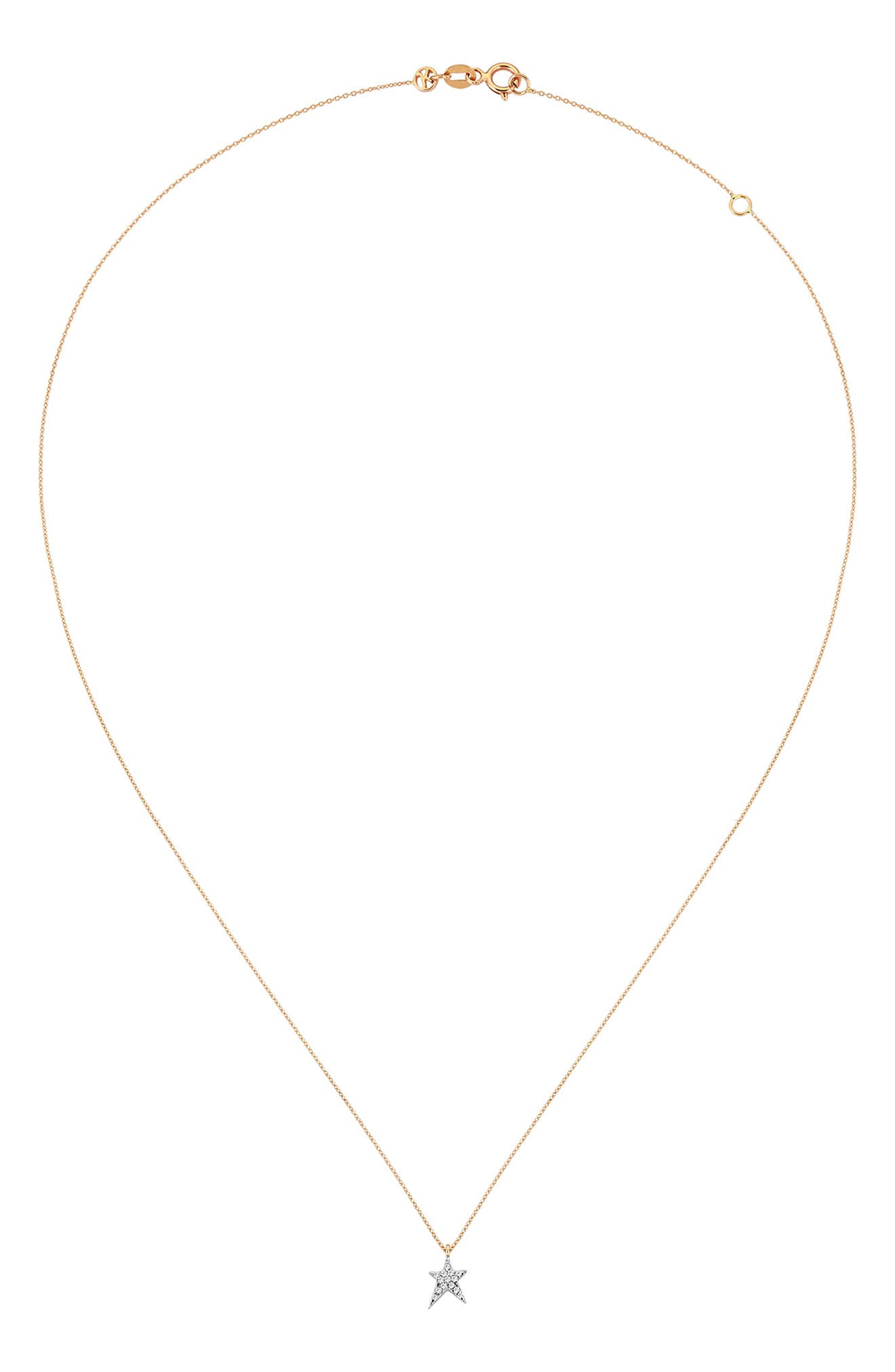 KISMET BY MILKA, Small Struck Star Diamond Necklace, Main thumbnail 1, color, ROSE GOLD