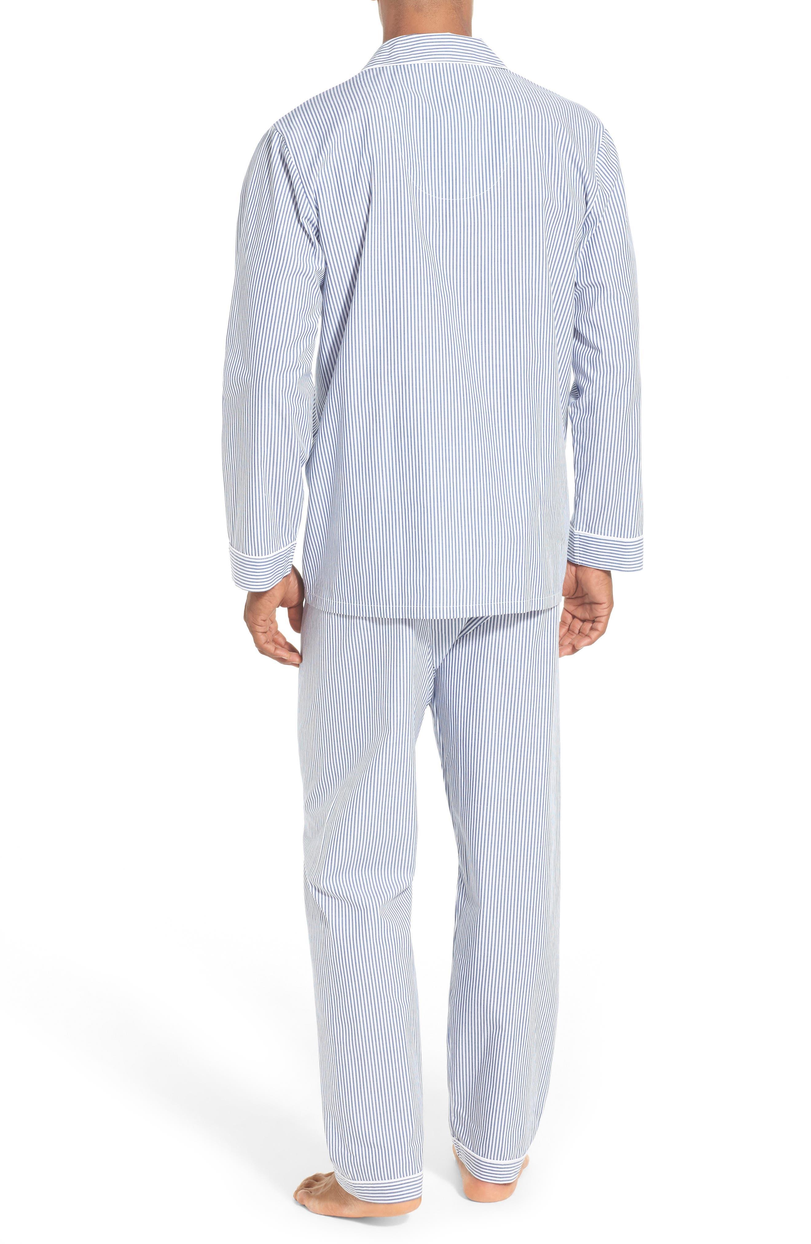 MAJESTIC INTERNATIONAL, Stripe Cotton Pajamas, Alternate thumbnail 2, color, NAVY