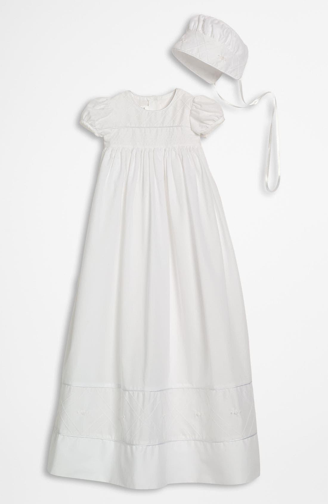LITTLE THINGS MEAN A LOT, Gown & Bonnet, Main thumbnail 1, color, WHITE