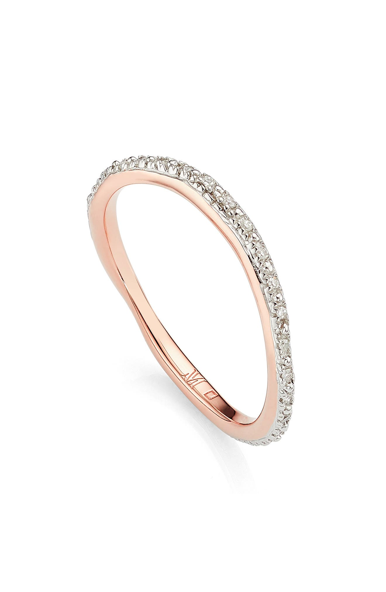 MONICA VINADER, Riva Wave Diamond Eternity Ring, Main thumbnail 1, color, ROSE GOLD/ DIAMOND