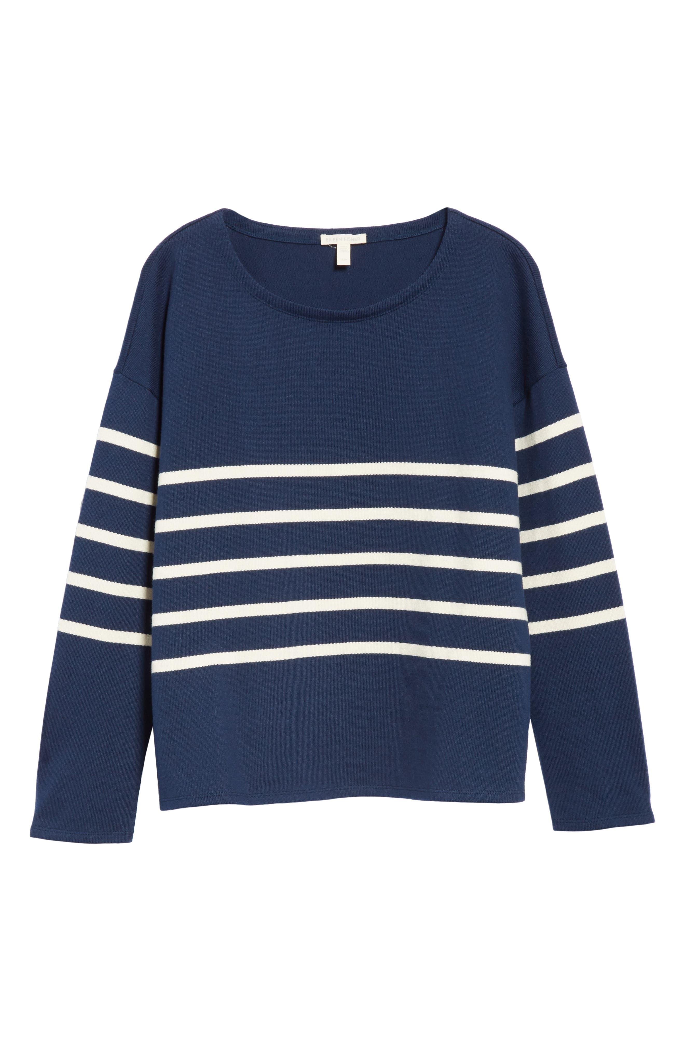 EILEEN FISHER, Stripe Organic Cotton Sweater, Alternate thumbnail 6, color, DENIM