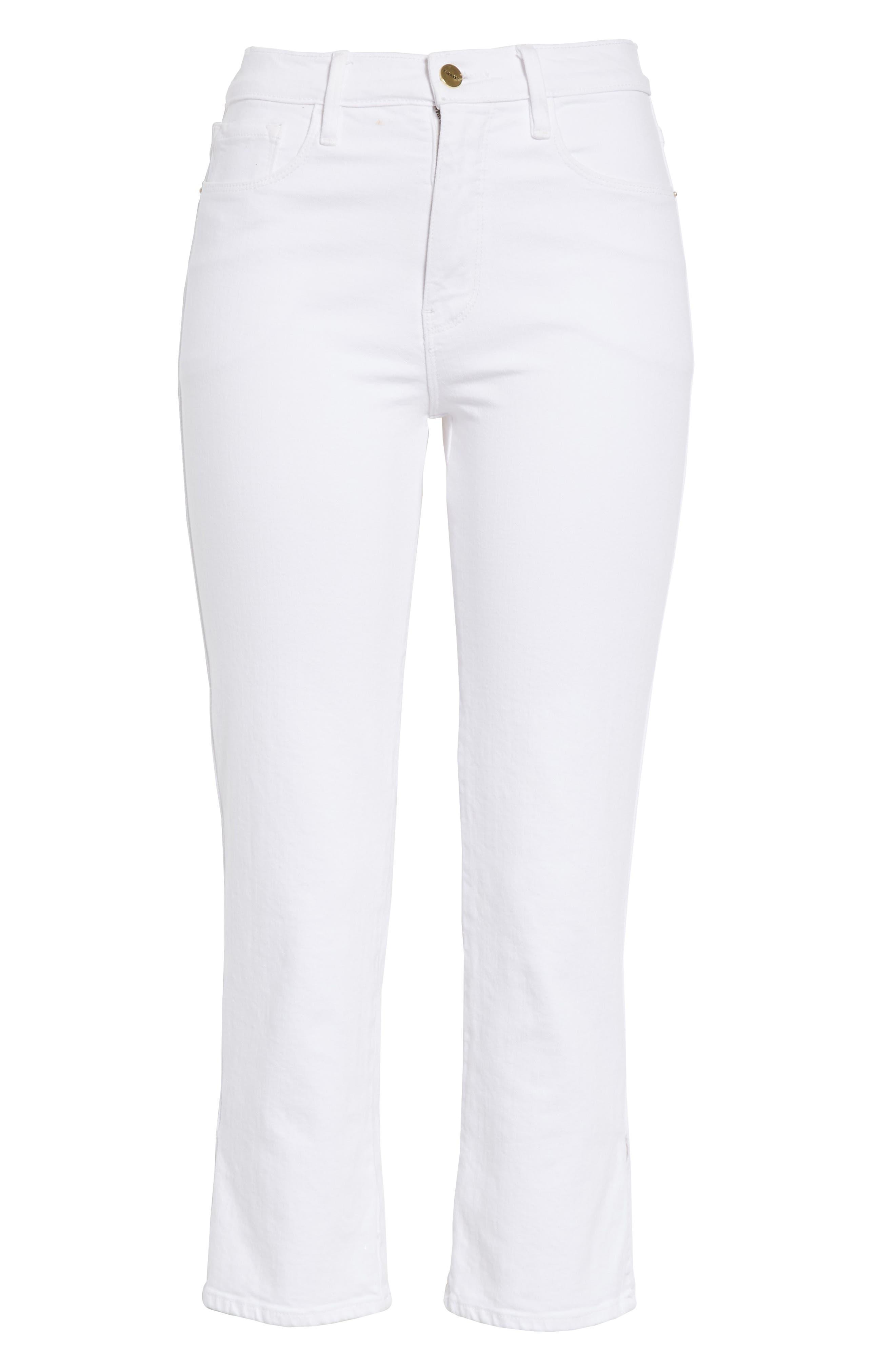 FRAME, Le Sylvie Slit Hem Ankle Slim Jeans, Alternate thumbnail 6, color, 100