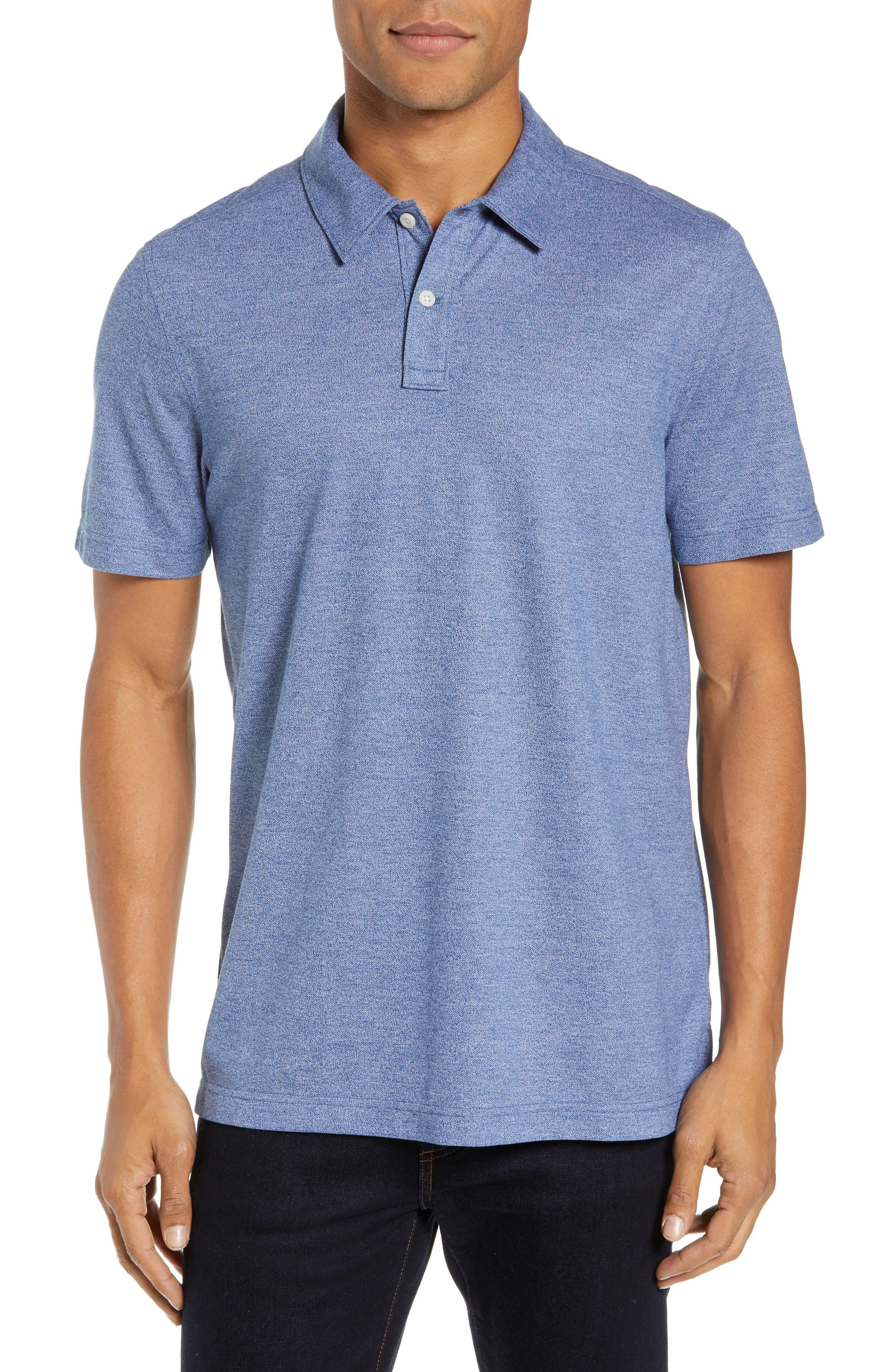 NORDSTROM MEN'S SHOP, Regular Fit Polo, Main thumbnail 1, color, BLUE CASPIA MELANGE