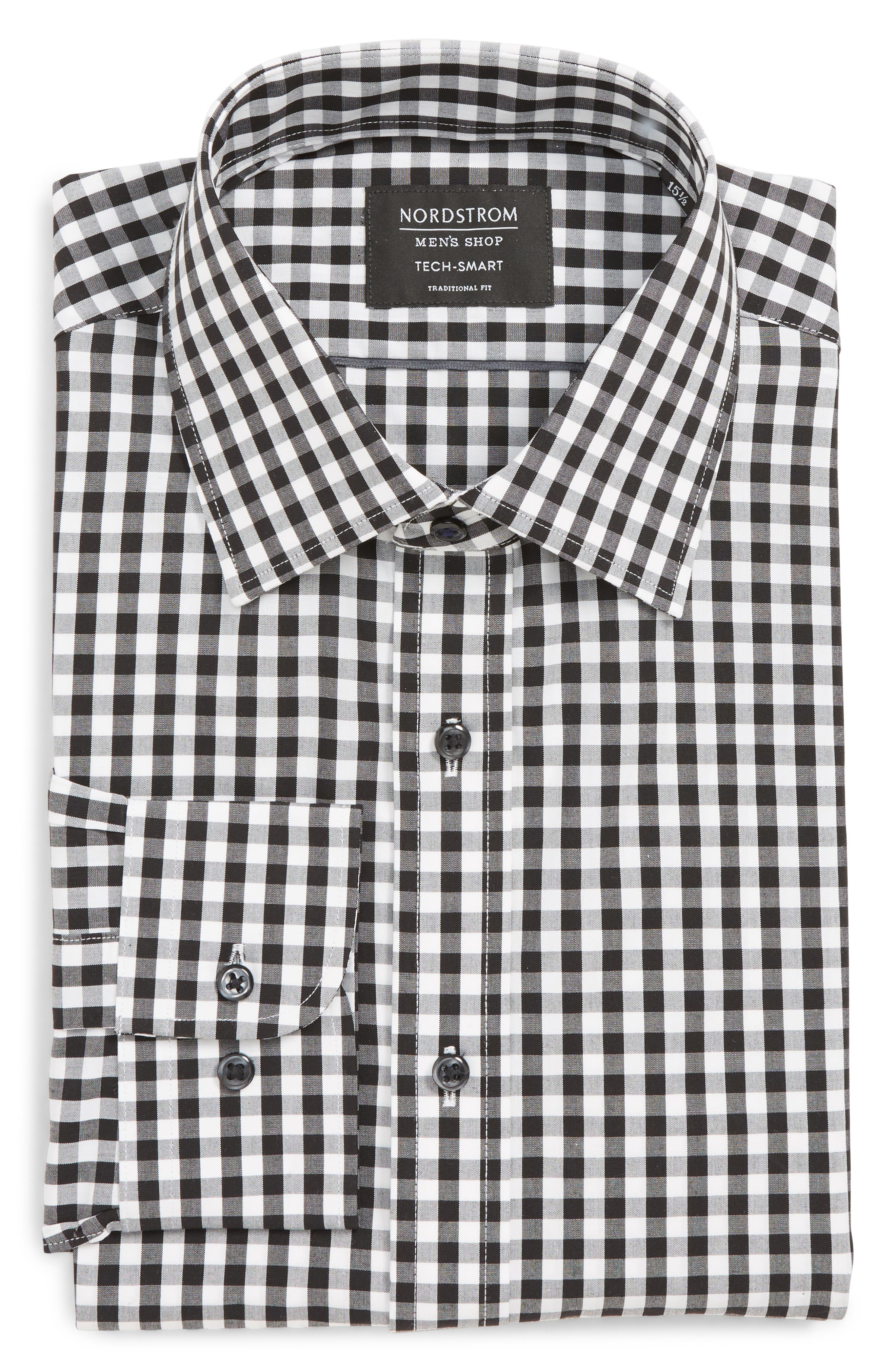 NORDSTROM MEN'S SHOP, Tech-Smart Traditional Fit Stretch Check Dress Shirt, Alternate thumbnail 5, color, BLACK ROCK
