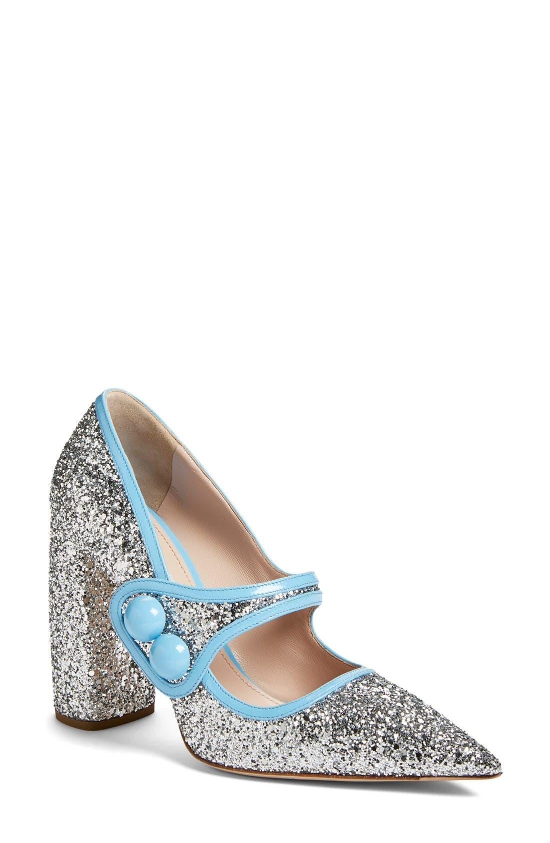 MIU MIU Glitter Mary Jane, Main, color, 040