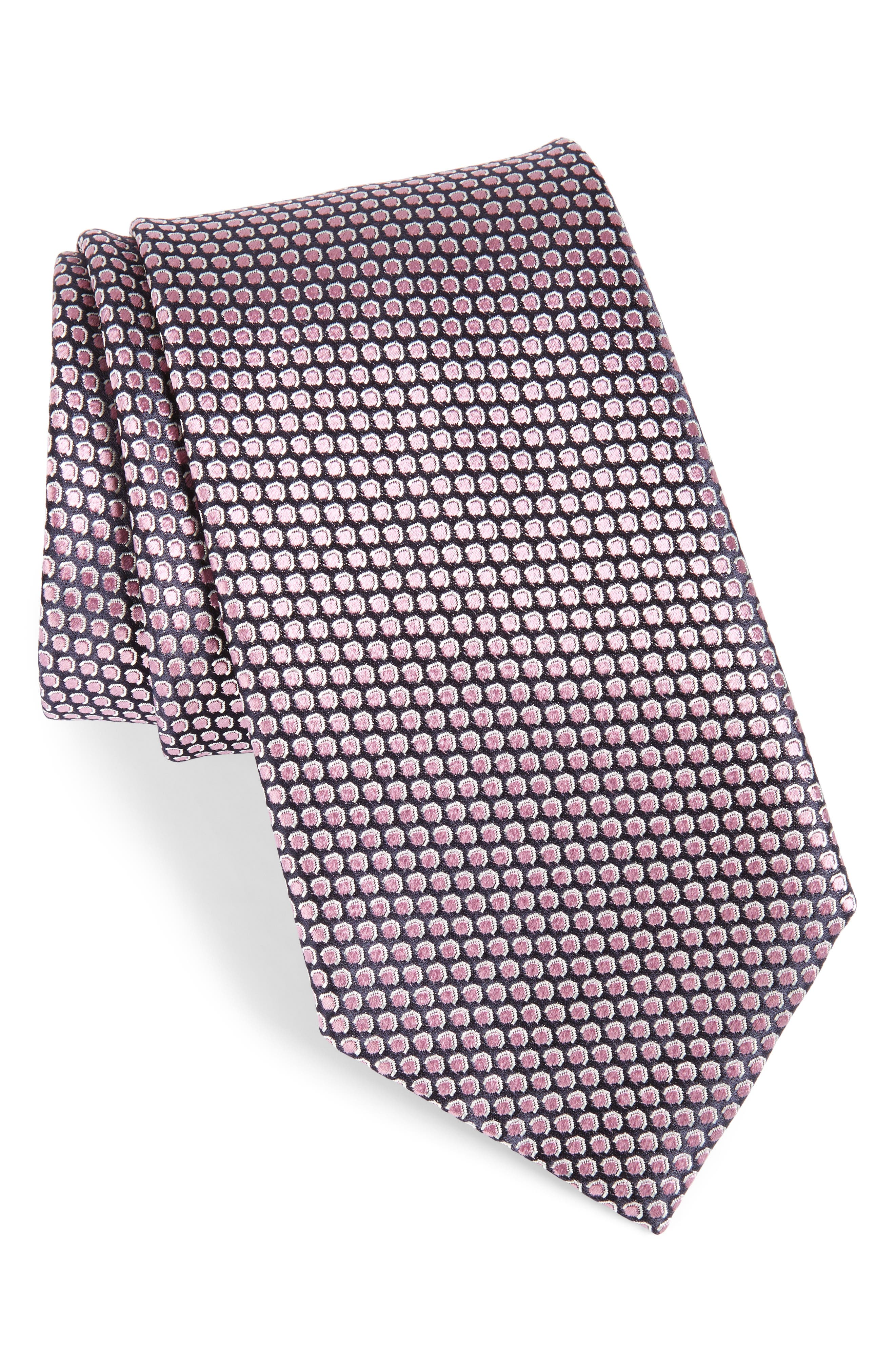 ERMENEGILDO ZEGNA, Geometric Silk Tie, Main thumbnail 1, color, 662