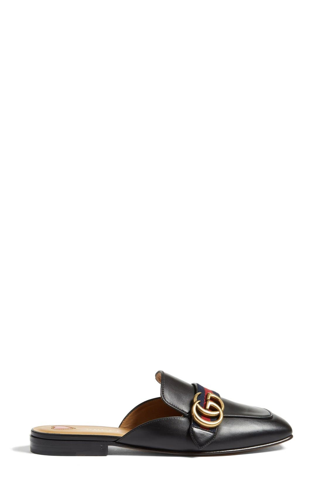 GUCCI, Loafer Mule, Alternate thumbnail 4, color, BLACK LEATHER