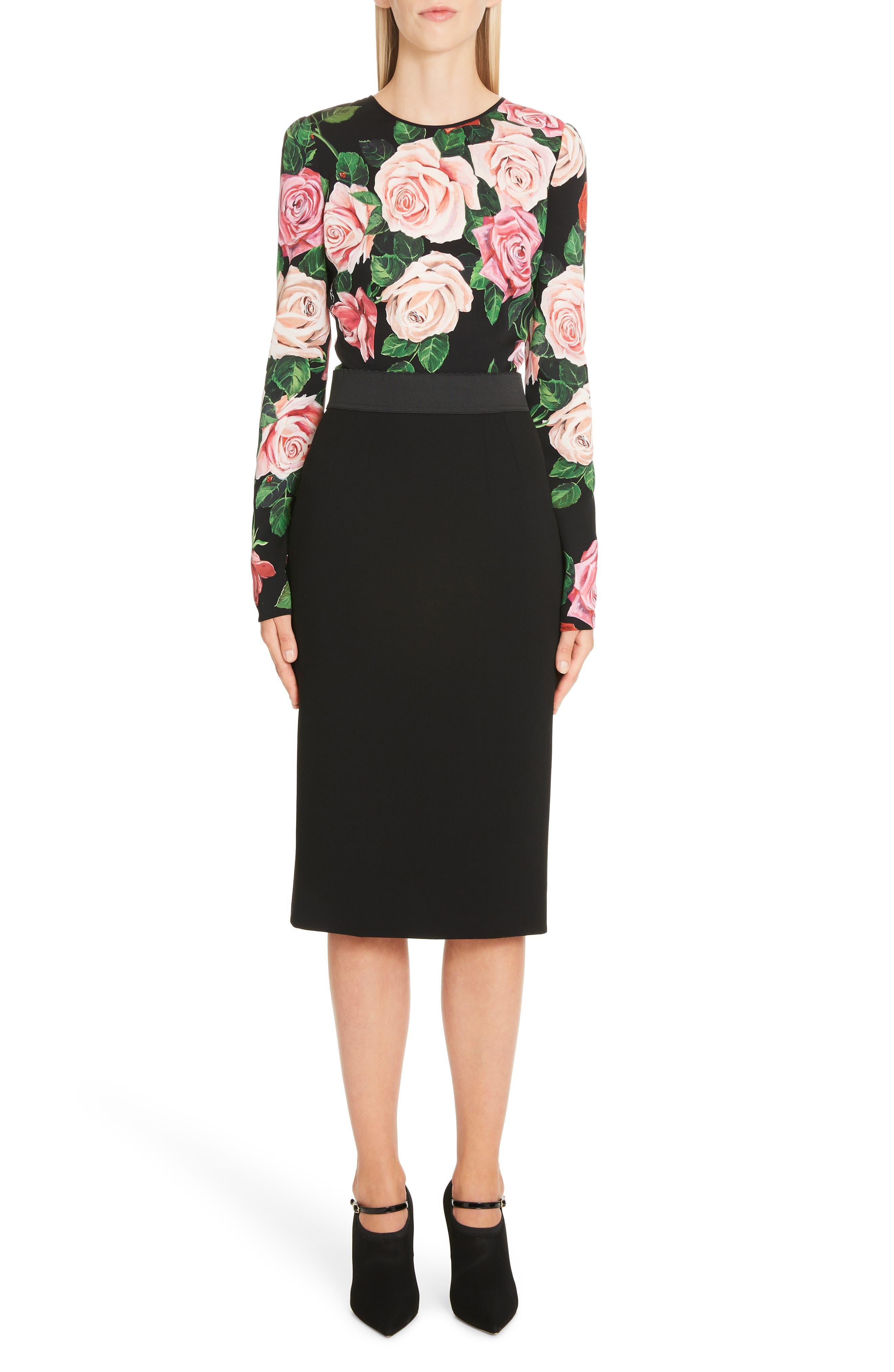 DOLCE&GABBANA, Rose Print Stretch Silk Top, Alternate thumbnail 7, color, BLACK ROSE